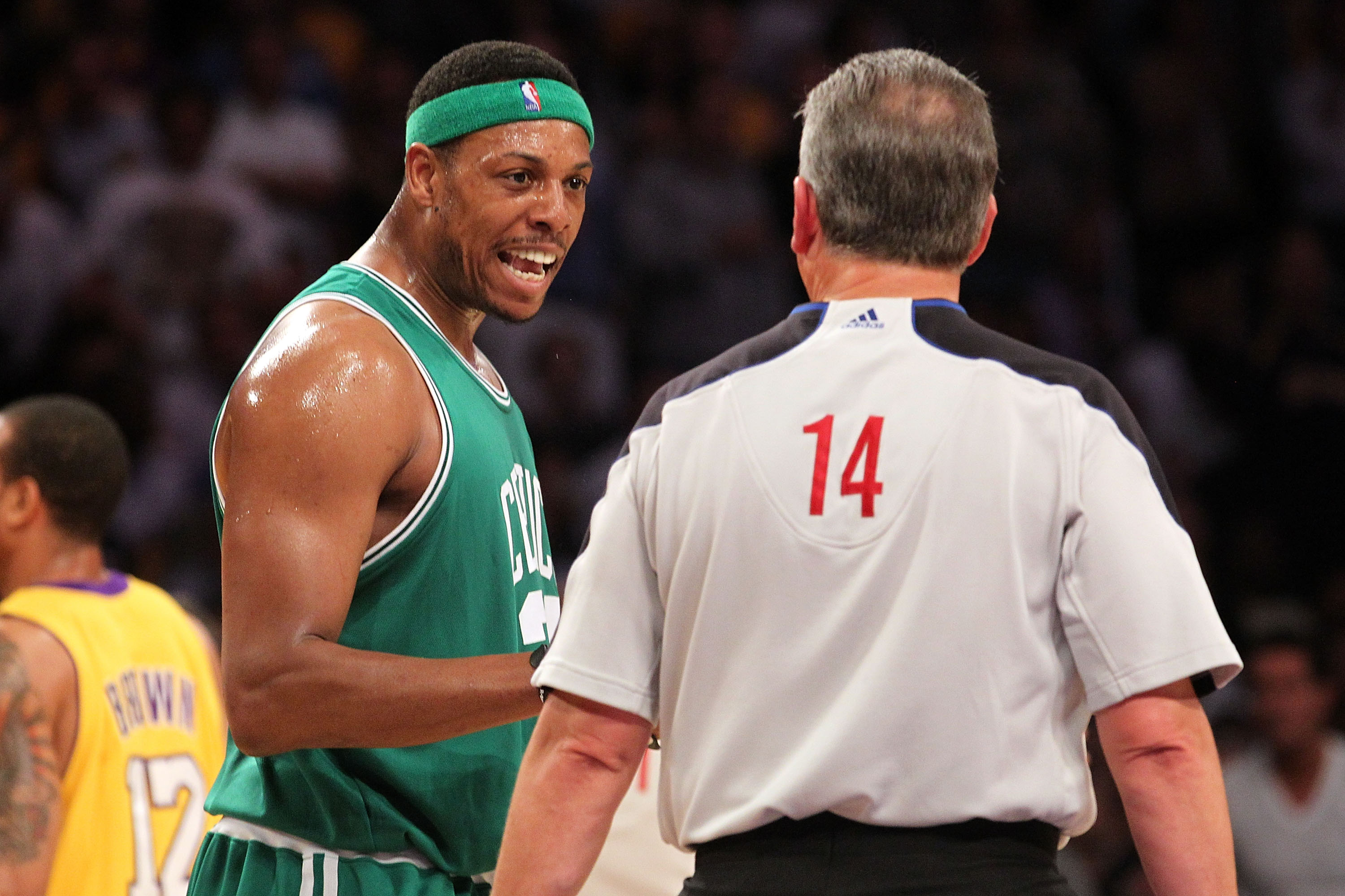 LOS ANGELES, CA - JUNE 15:  Paul Pierce #34 of the Boston Celtics talks with referee Joe DeRosa while taking on the Los Angeles Lakers in Game Six of the 2010 NBA Finals at Staples Center on June 15, 2010 in Los Angeles, California.  NOTE TO USER: User ex