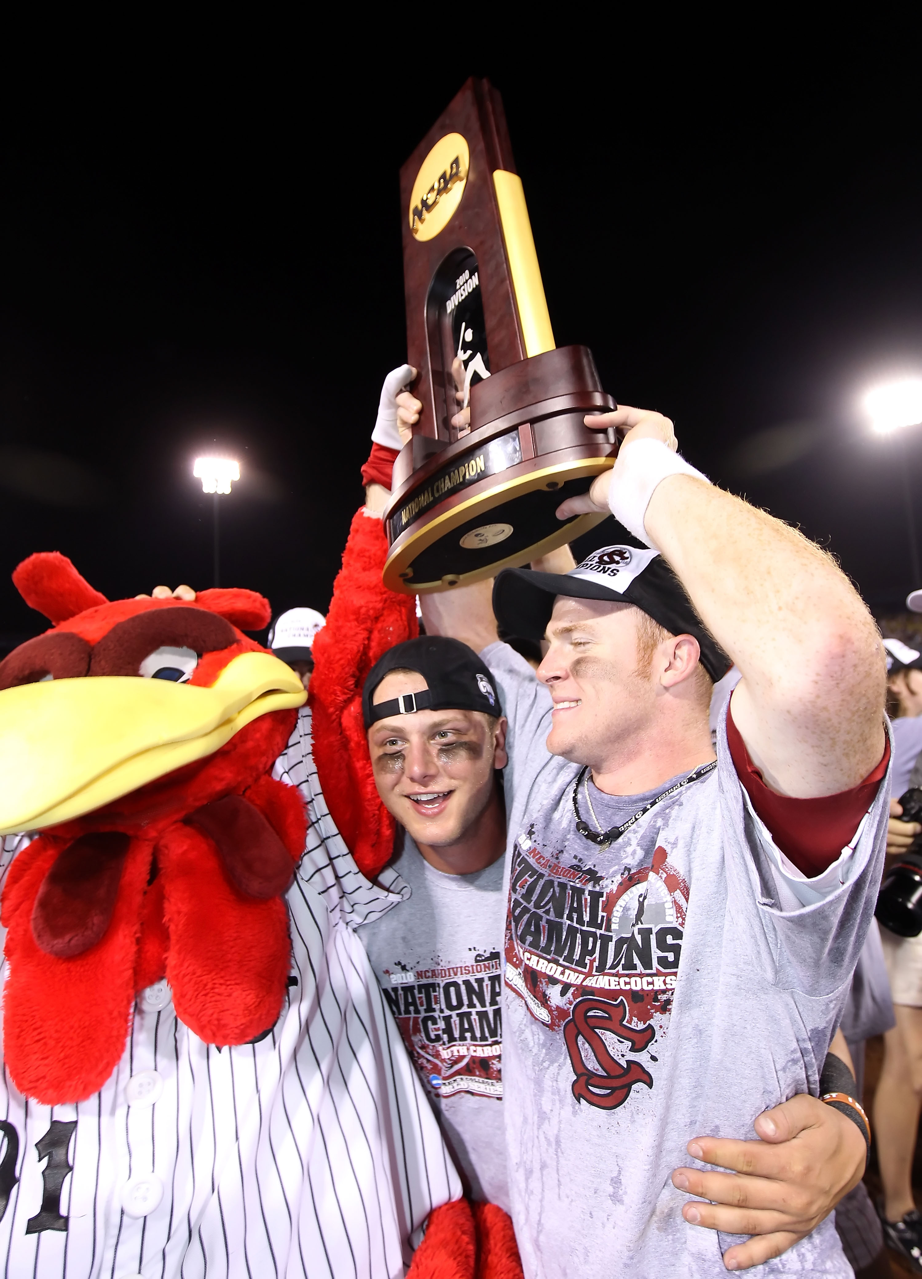 OMAHA, NE - JUNE 29:  The South Carolina Gamecocks celebrate with the championship trophy after defeating the UCLA Bruins in game 2 of the men's 2010 NCAA College Baseball World Series at Rosenblatt Stadium on June 29, 2010 in Omaha, Nebraska. The Gamecoc