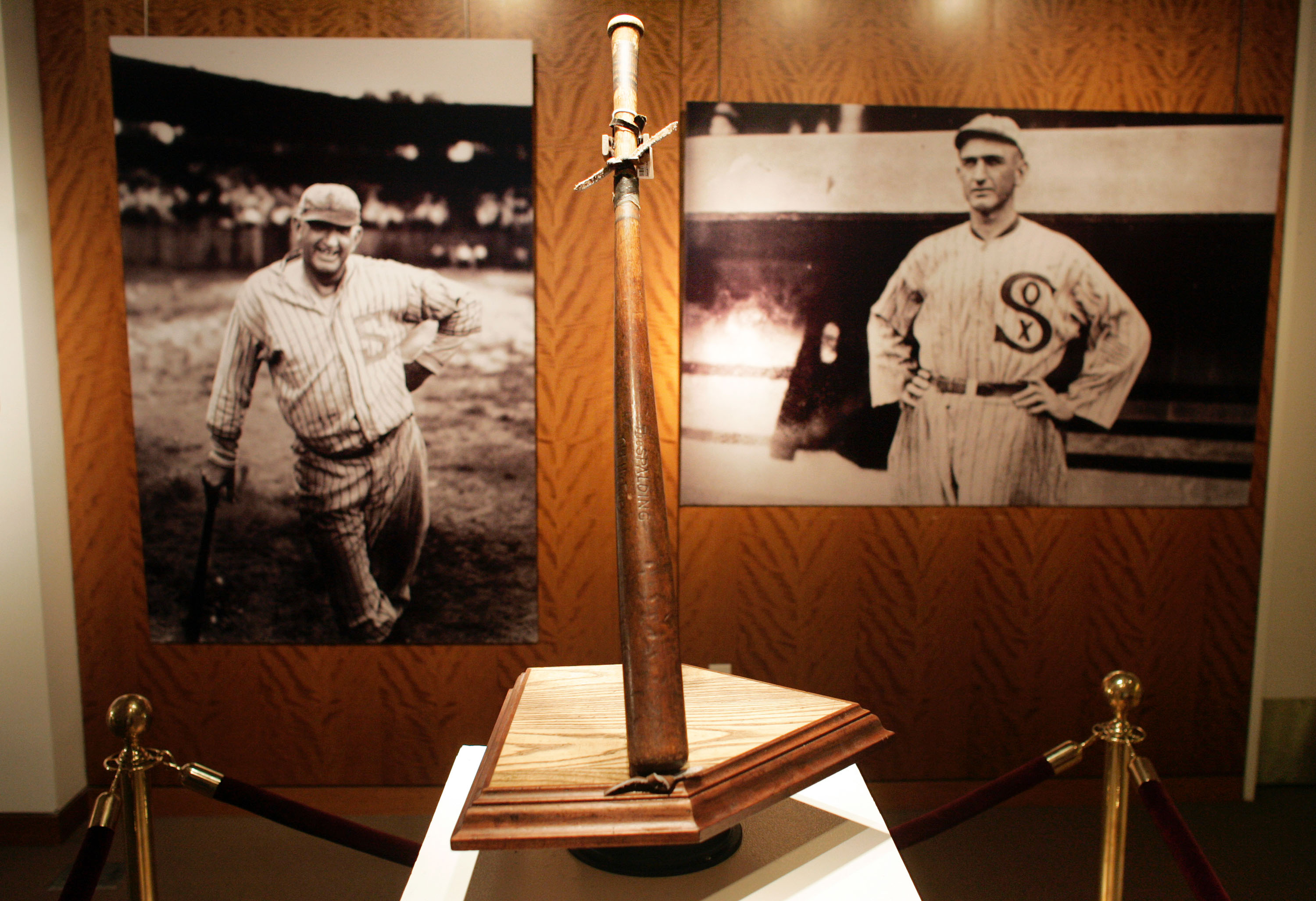 NEW YORK - DECEMBER 5:  'Shoeless' Joe Jackson's bat stands on display during an auction preview at Sotheby's December 5, 2005 in New York City. The bat, called 'Black Betsy,' will be auctioned December 10 and was last purchased at a 2001 auction for $577