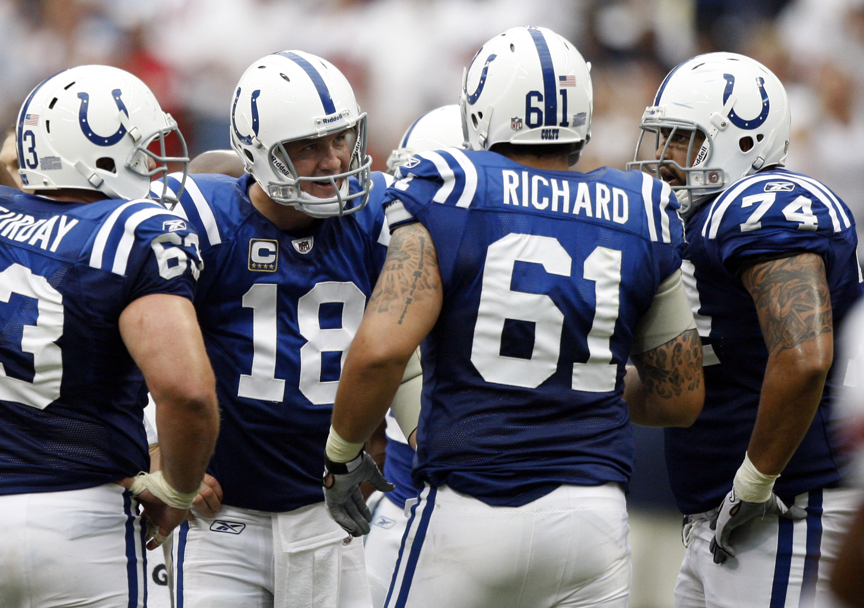 HOUSTON - SEPTEMBER 12:  Quarterback Peyton Manning #18 of the Indianapolis Colts has words with offensive guard Jamey Richard #61 after a delay of game penalty was called during  the NFL seaso1n opener football game against the Houston Texans at Reliant