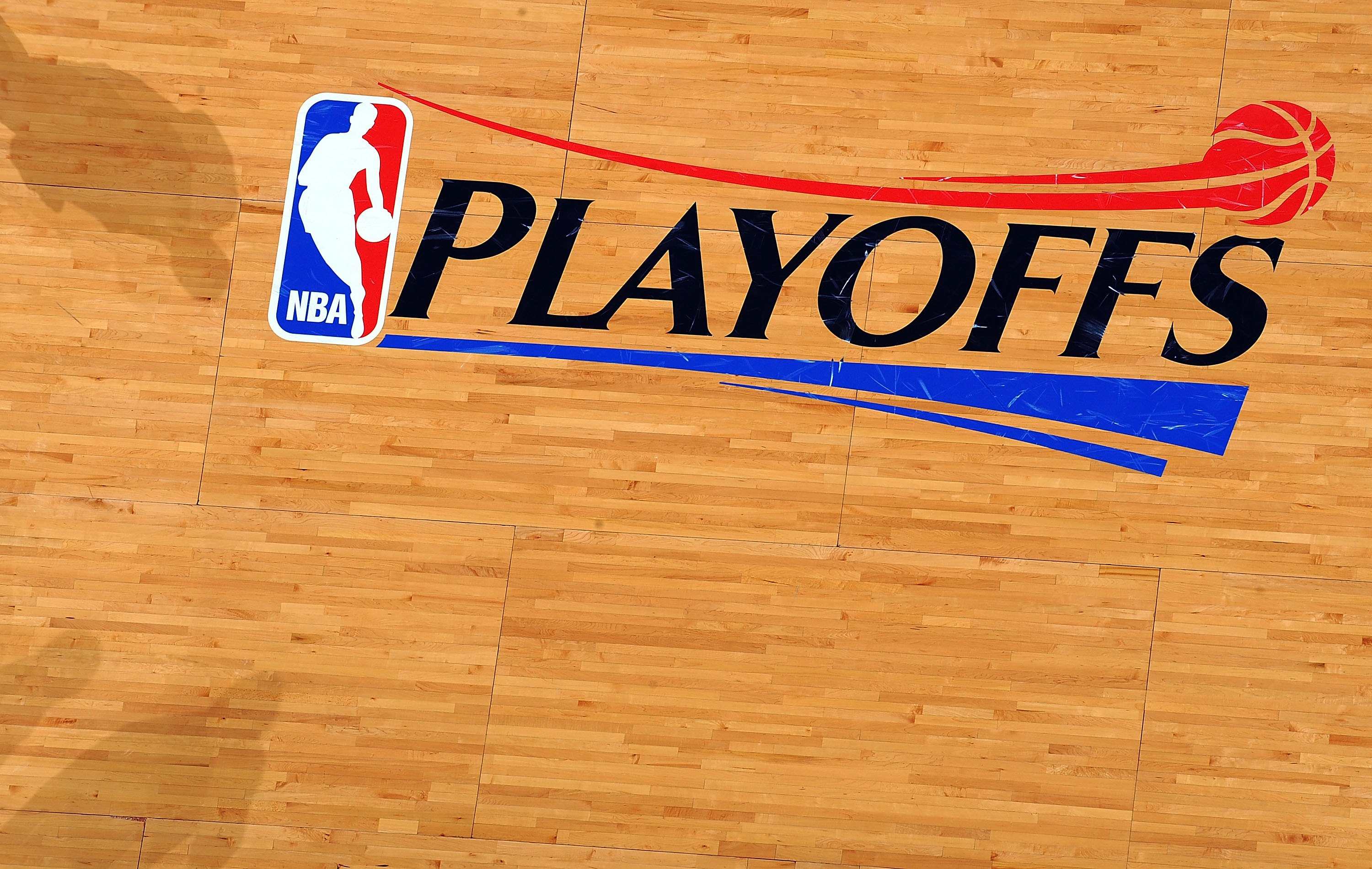 SAN ANTONIO - APRIL 20:  The NBA Playoffs logo in Game Two of the Western Conference Quarterfinals during the 2009 NBA Playoffs at AT&T Center on April 20, 2009 in San Antonio, Texas. NOTE TO USER: User expressly acknowledges and agrees that, by downloadi