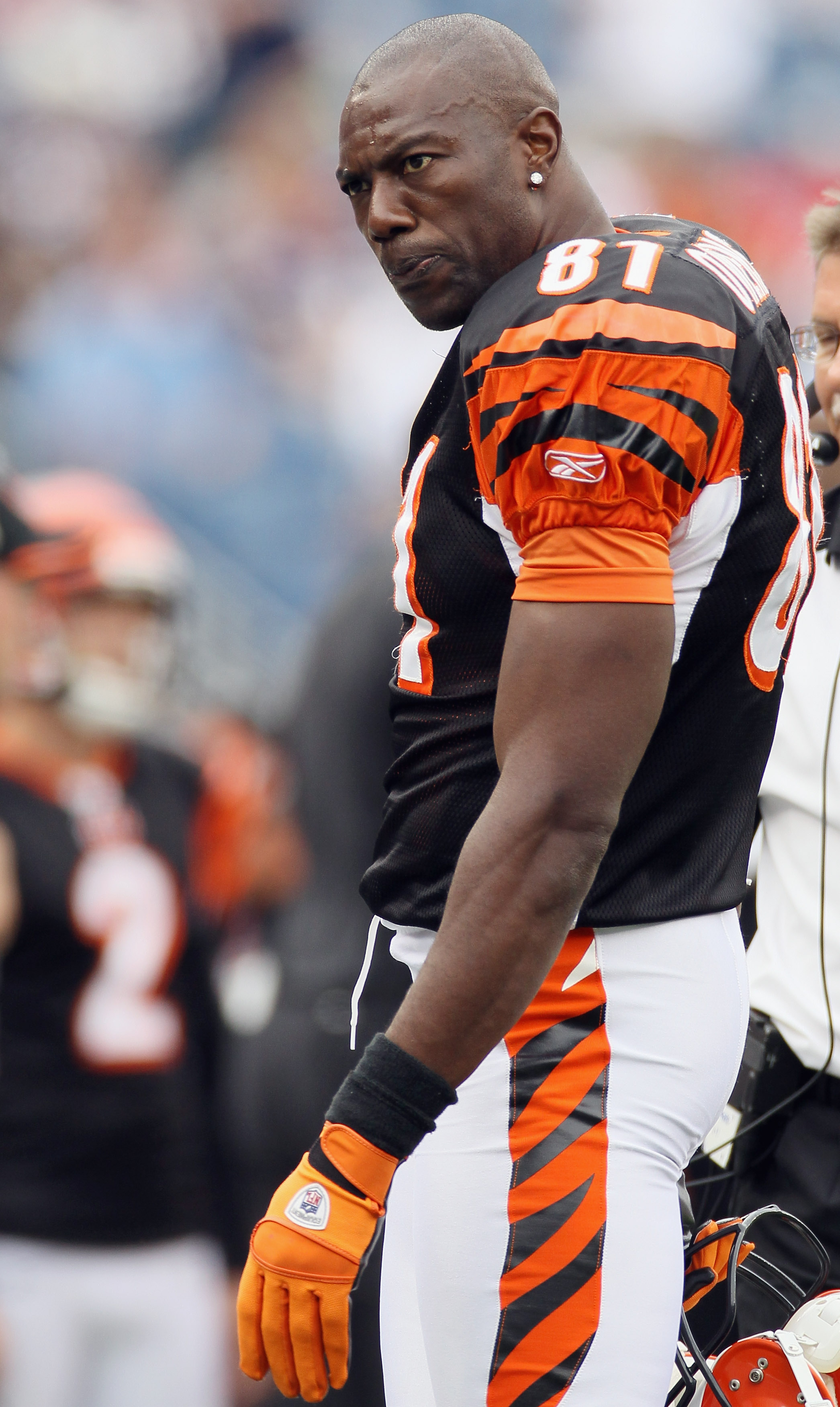 FOXBORO, MA - SEPTEMBER 12:  Terrell Owens #81 of the Cincinnati Bengals walks off the field in the fourth quarter against the New England Patriots during the NFL season opener on September 12, 2010 at Gillette Stadium in Foxboro, Massachusetts. The Patri
