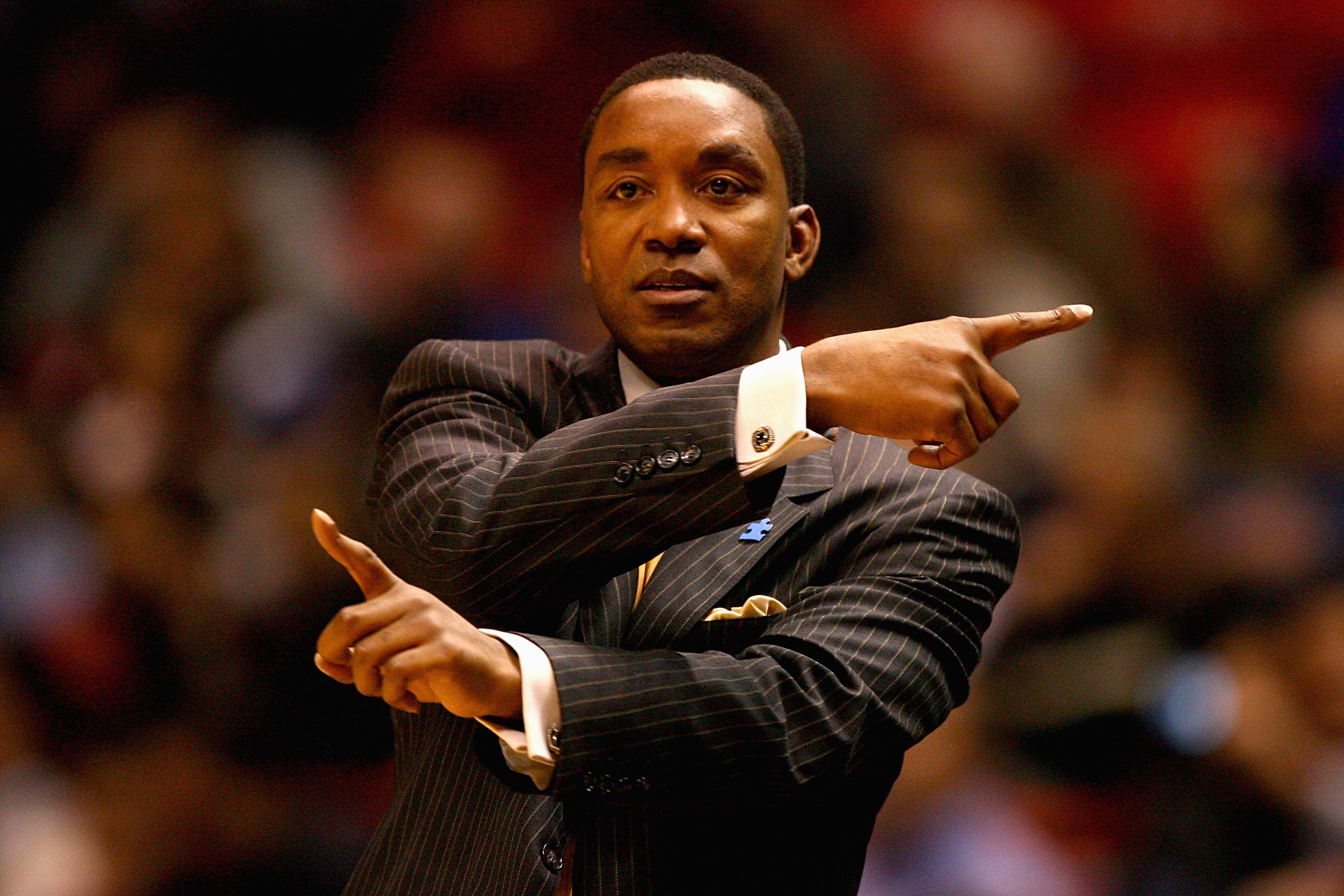 EAST RUTHERFORD, NJ - JANUARY 16:  Head coach Isiah Thomas of the New York Knicks directs play during the game against the New Jersey Nets on January 16, 2008 at the IZOD Center in East Rutherford, New Jersey.  The Knicks won 111-105.  NOTE TO USER: User