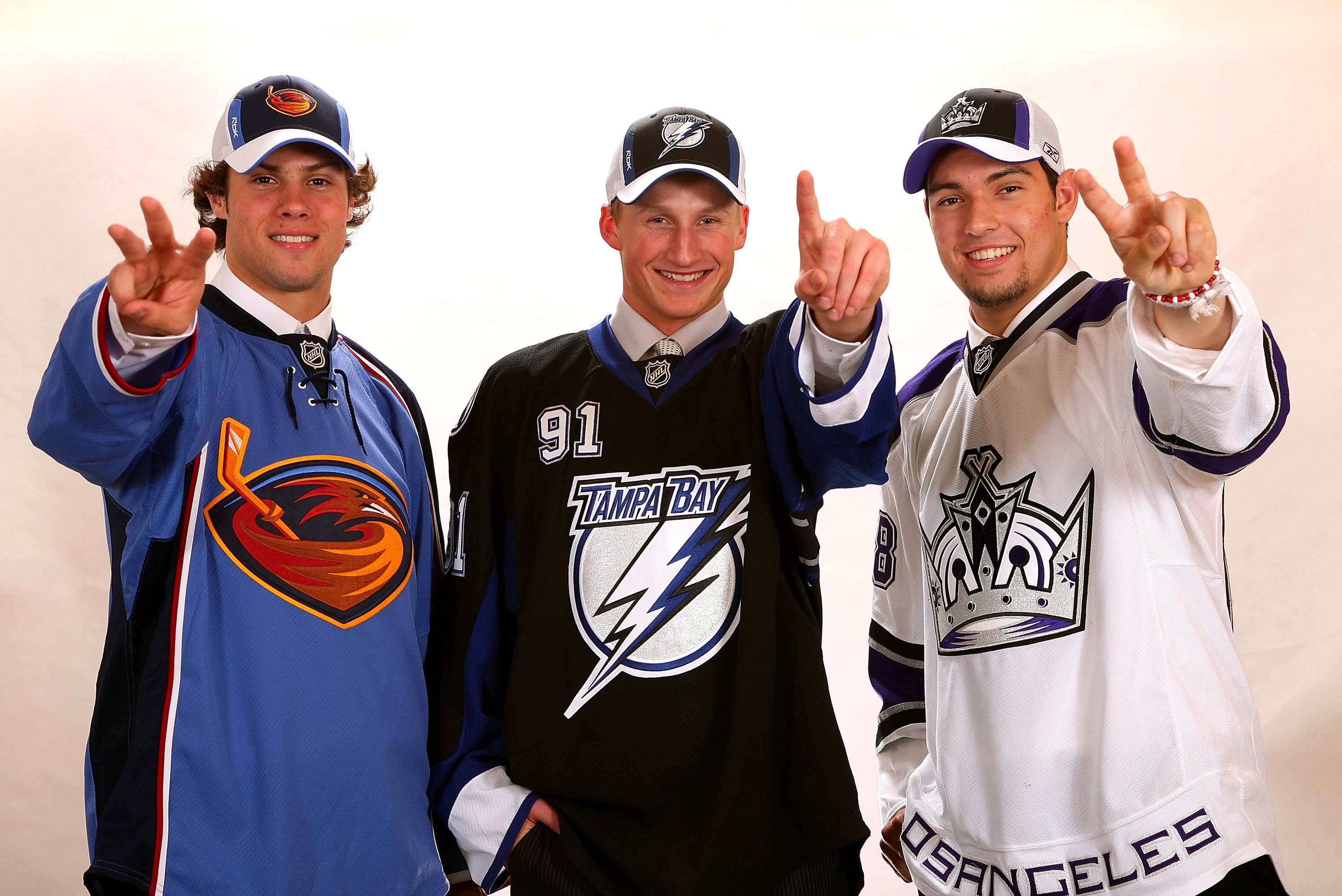 OTTAWA, ON - JUNE 20:  (L-R) Third overall pick Zach Bogosian of the Atlanta Thrashers, first overall pick Steven Stamkos of the Tampa Bay Lightning and second overall pick Drew Doughty of the Los Angeles Kings pose for a photograph after being selected i