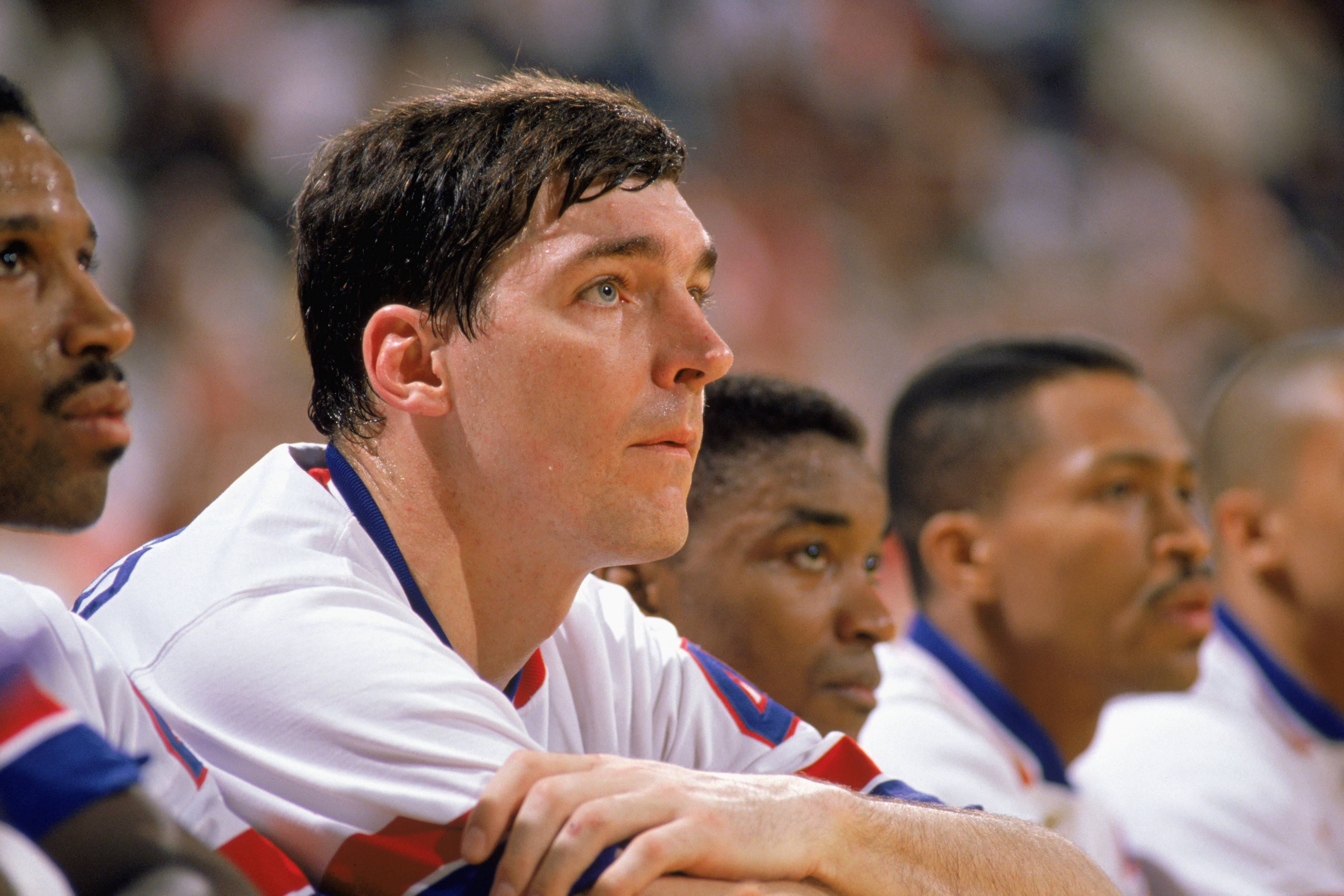 1989:  Bill Laimbeer #40 of the Detroit Pistons sits on the bench in a game during the 1988-1989 NBA season.  (Photo by Jonathan Daniel/Getty Images)