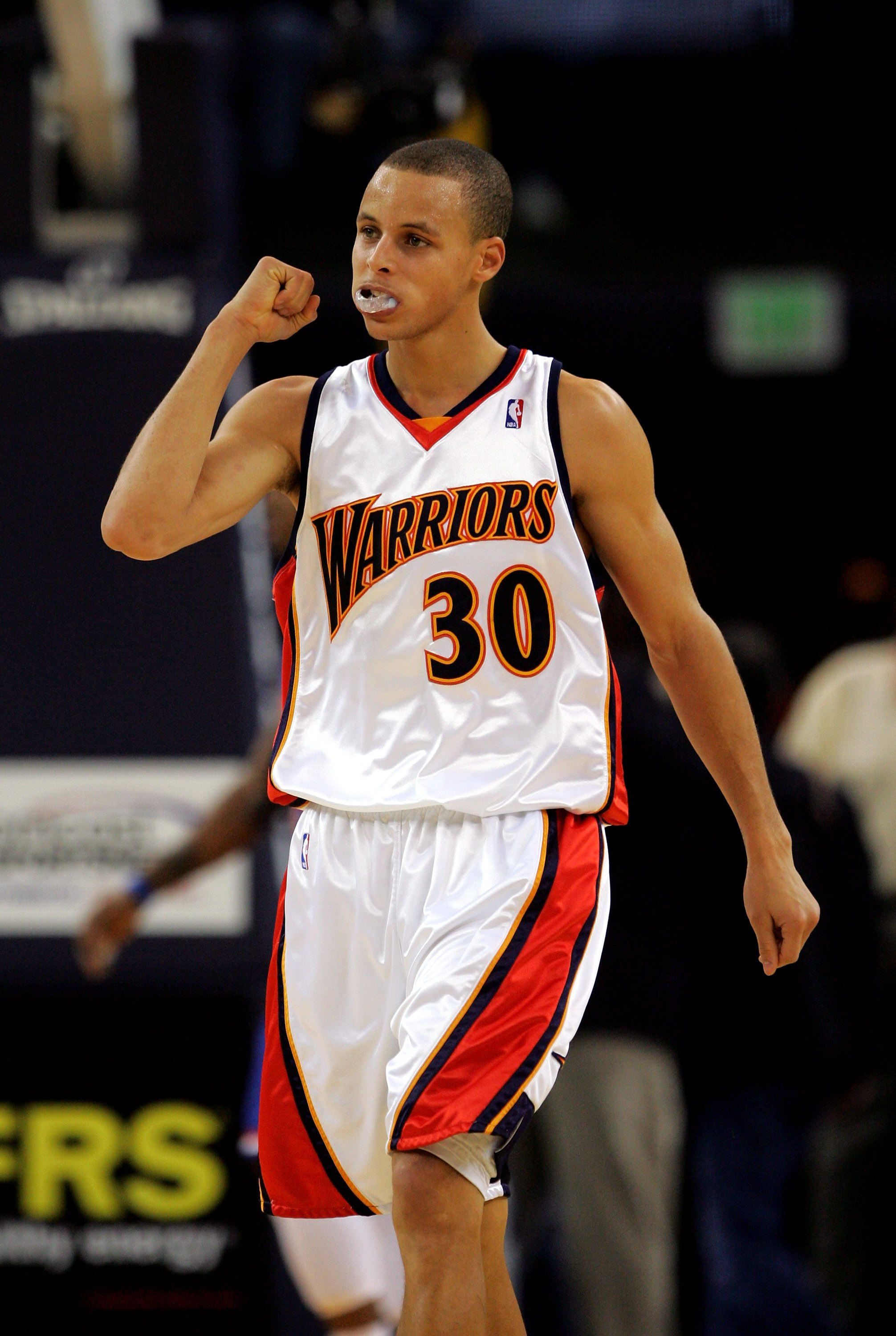OAKLAND, CA - JANUARY 11:  Stephen Curry #30 of the Golden State Warriors reacts after a play during their game against the Cleveland Cavaliers at Oracle Arena on January 11, 2010 in Oakland, California.  NOTE TO USER: User expressly acknowledges and agre