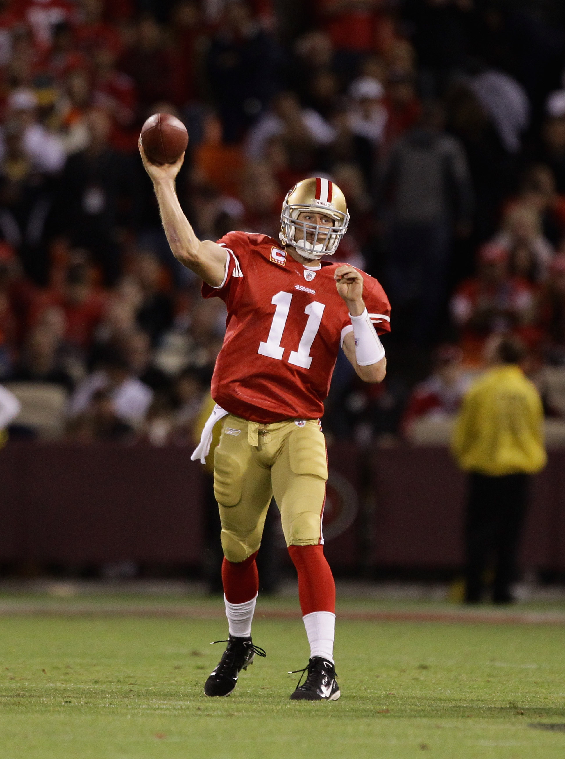 SAN FRANCISCO - SEPTEMBER 20:  Alex Smith #11 of the San Francisco 49ers throws the ball during their game against the New Orleans Saints at Candlestick Park on September 20, 2010 in San Francisco, California.  (Photo by Ezra Shaw/Getty Images)