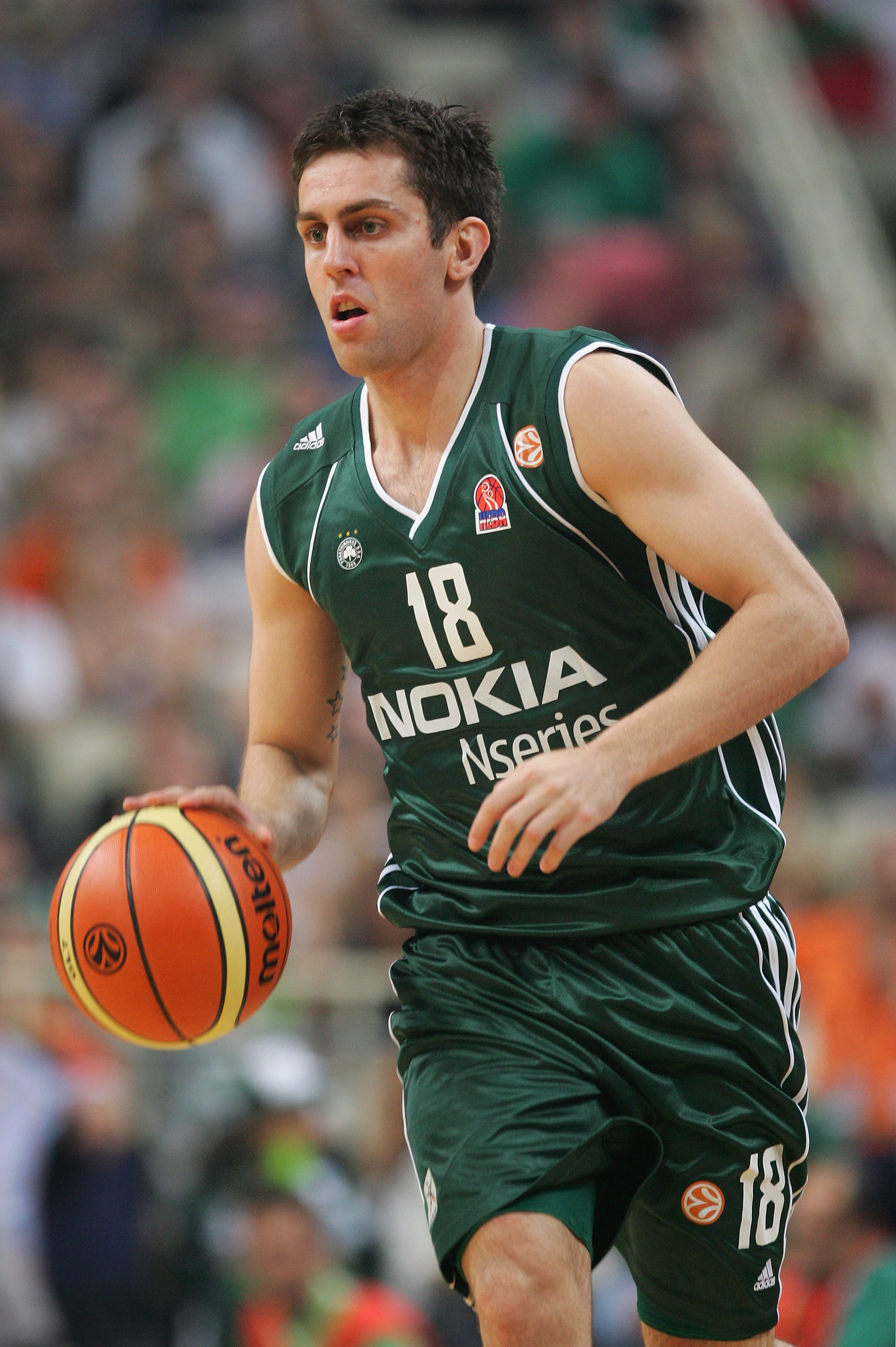 ATHENS, GREECE - MAY 04:  Milos Vujanic of Panathinaikos in action during the EuroLeague Final Four Semi Final match between Panathinaikos and Tau Ceramica at the Oaka Arena on May 4, 2007 in Athens, Greece.  (Photo by Julian Finney/Getty Images)