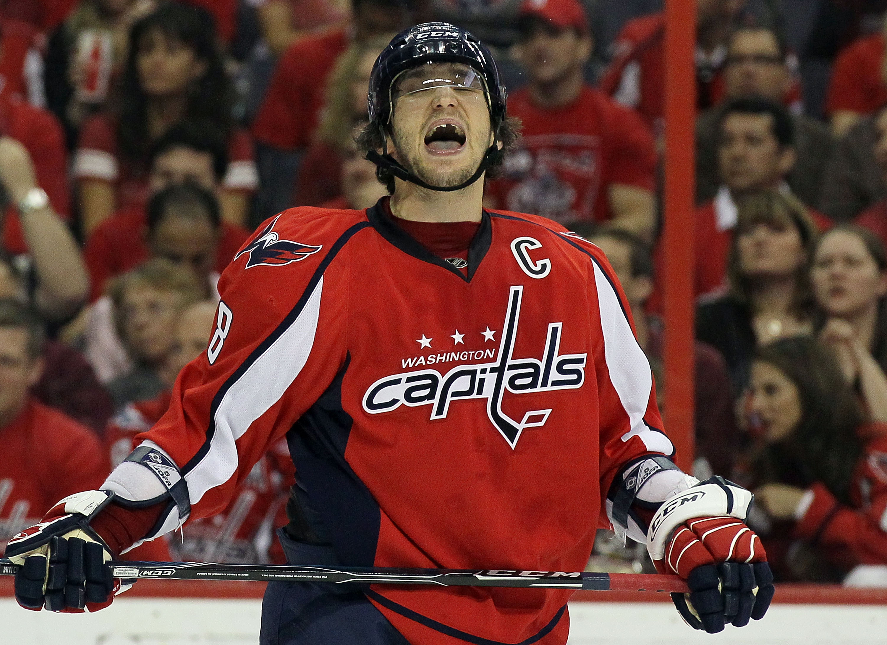 WASHINGTON DC, DC - APRIL 23: Alex Ovechkin #8 of the Washington Capitals reacts after missing a scoring chance in the third period against the Montreal Canadiens in Game Five of the Eastern Conference Quarterfinals during the 2010 NHL Stanley Cup Playoff