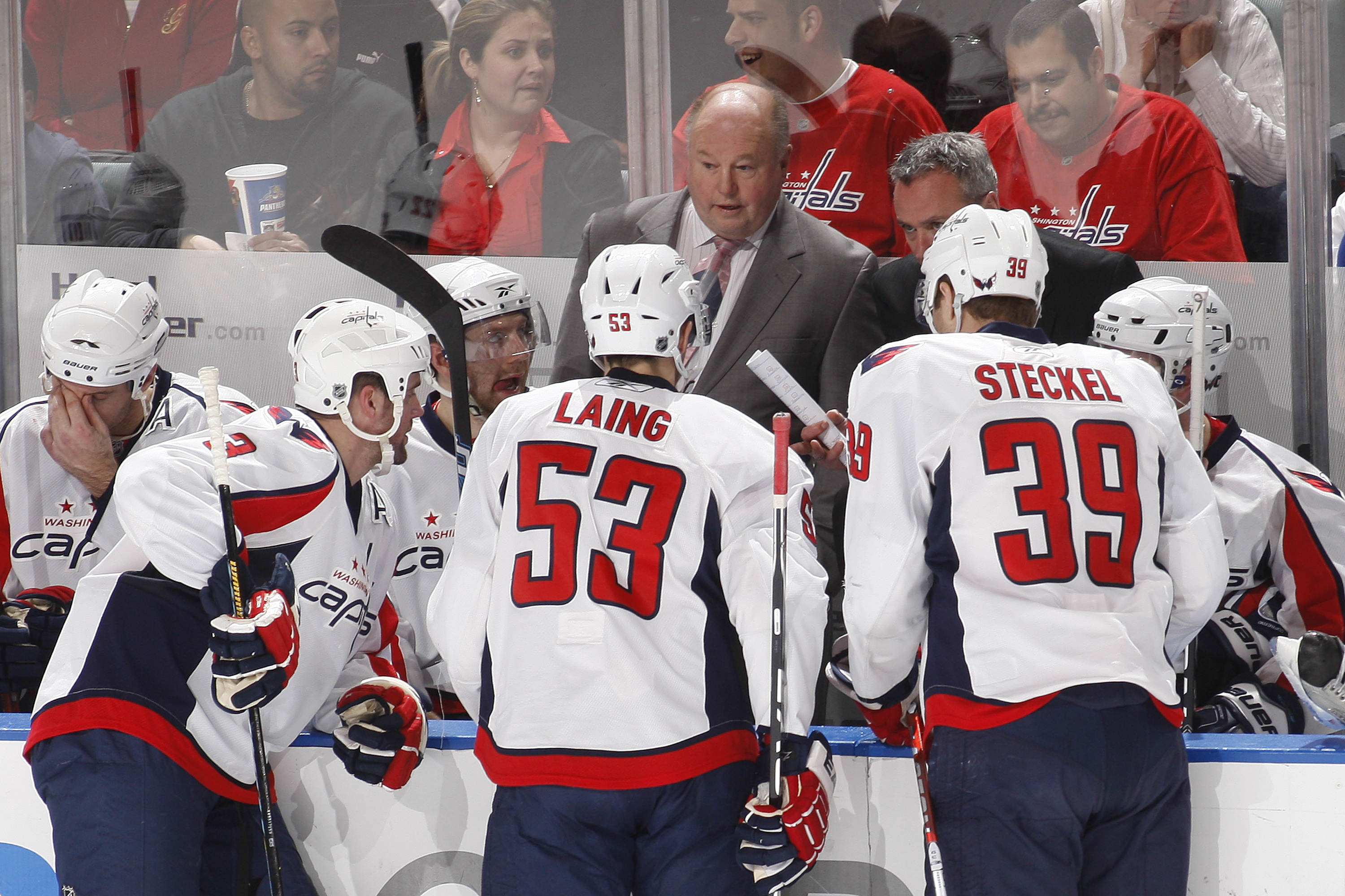 SUNRISE, FL - JANUARY 13: Head coach Bruce Boudreau talks to members of the Washington Capitals during the overtime period against the Florida Panthers on January 13, 2010 at the BankAtlantic Center in Sunrise, Florida. (Photo by Joel Auerbach/Getty Image