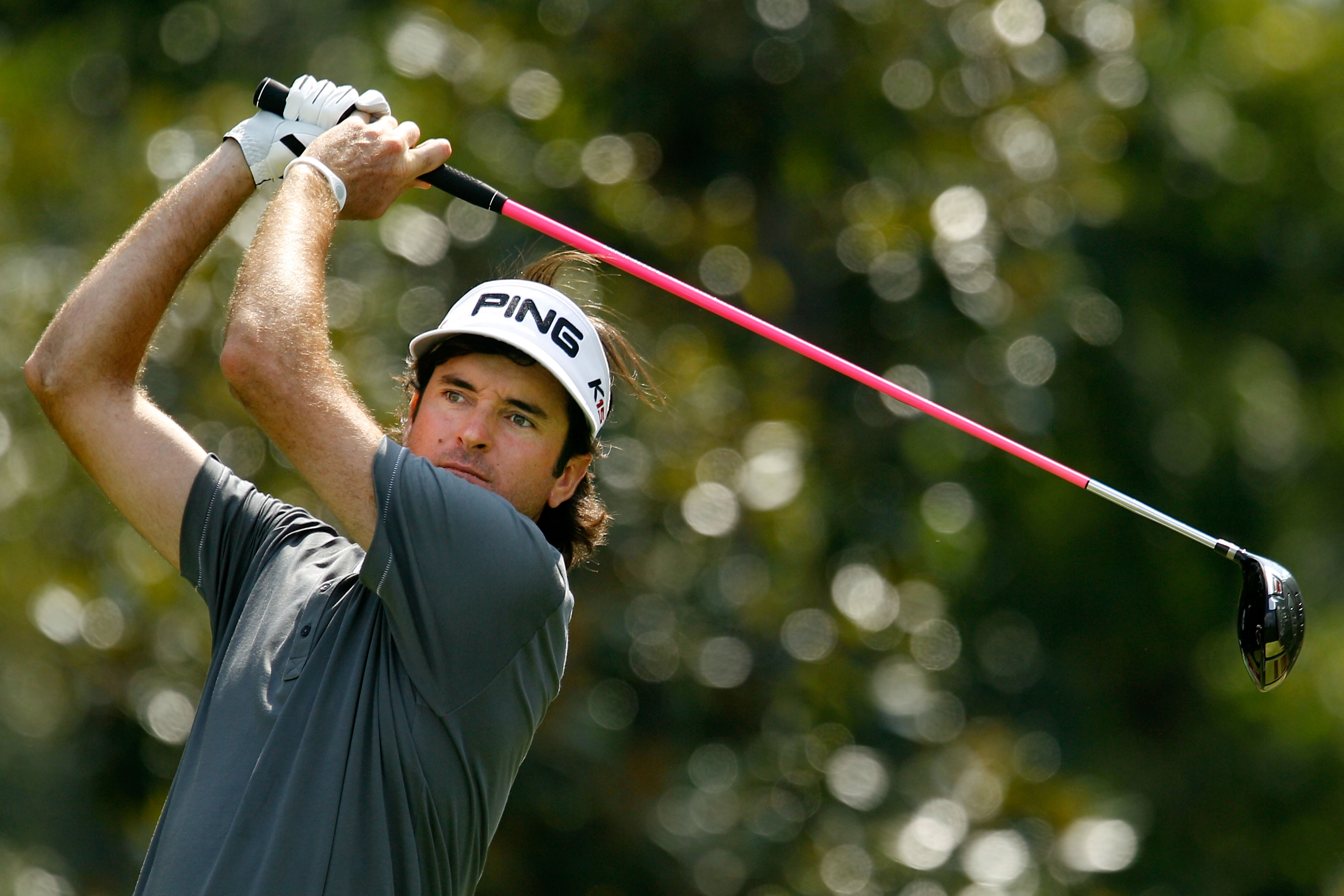ATLANTA - SEPTEMBER 23:  Bubba Watson hits his tee shot on the eighth hole during the first round of THE TOUR Championship presented by Coca-Cola at East Lake Golf Club on September 23, 2010 in Atlanta, Georgia.  (Photo by Scott Halleran/Getty Images)