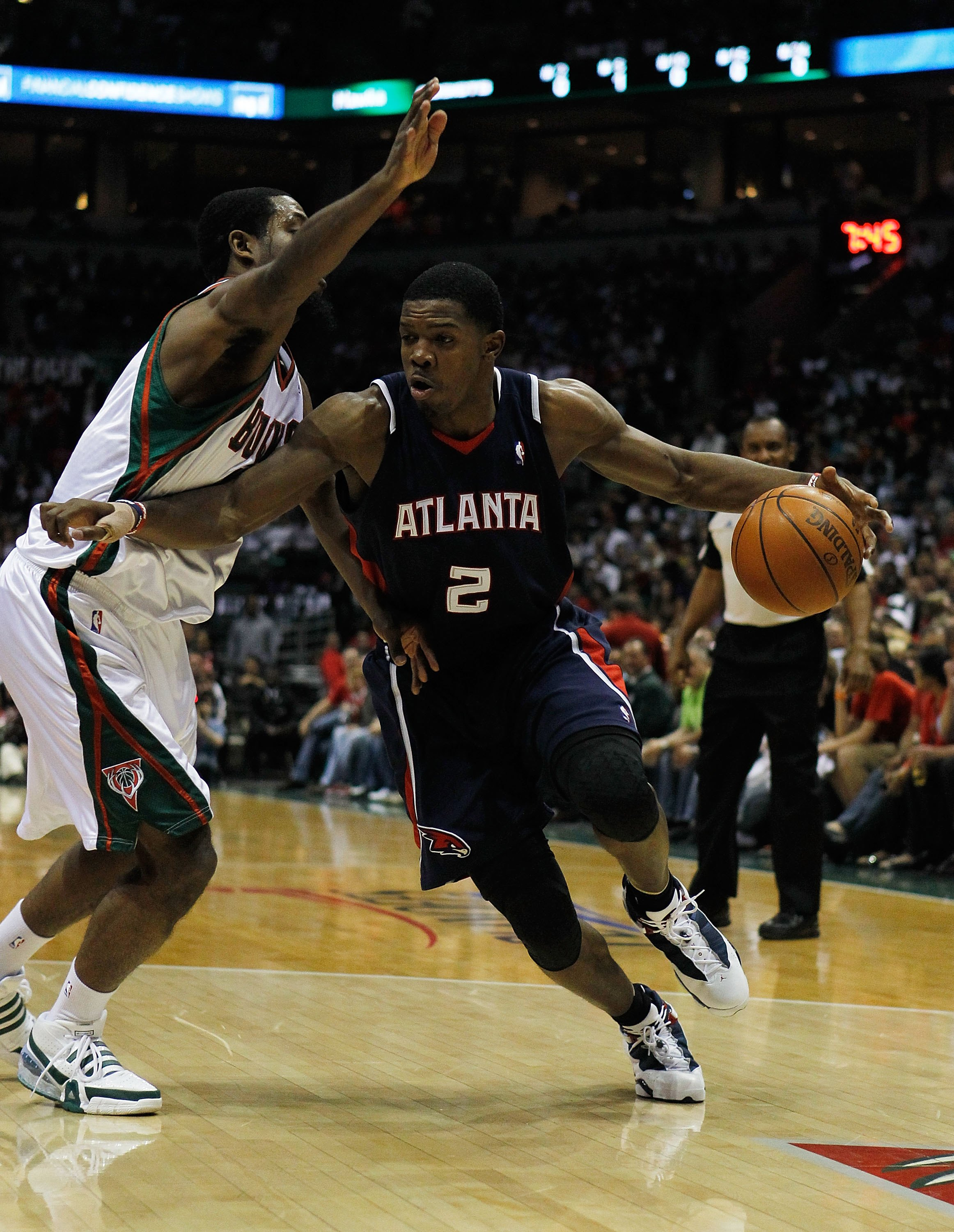 MILWAUKEE - APRIL 26: Joe Johnson #2 of the Atlanta Hawks drives past John Salmons #15 of the Milwaukee Bucks in Game Four of the Eastern Conference Quarterfinals during the 2010 NBA Playoffs at the Bradley Center on April 26, 2010 in Milwaukee, Wisconsin