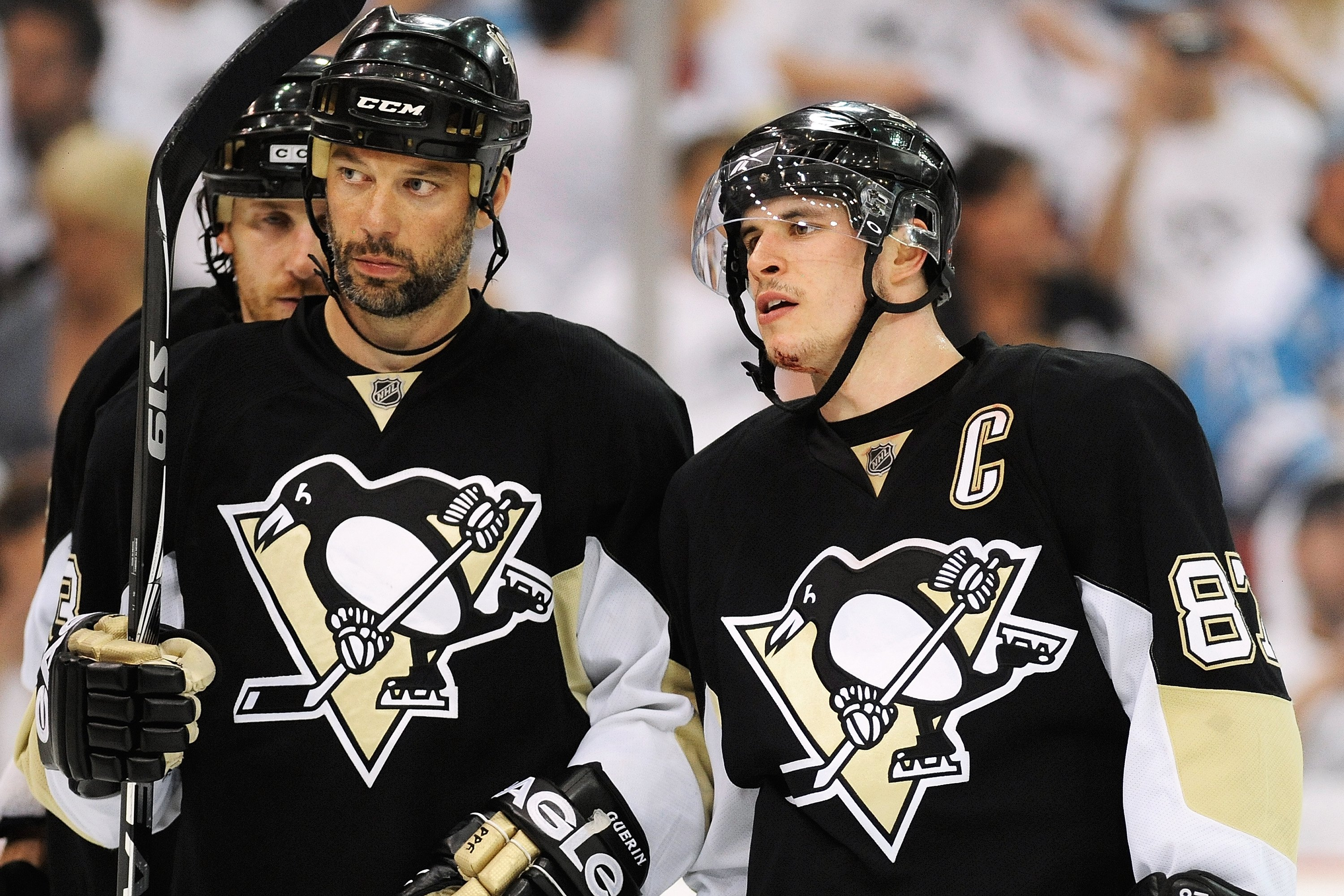 PITTSBURGH - APRIL 30:  Bill Guerin #13 and Sidney Crosby #87 of the Pittsburgh Penguins confer before a face off against the Montreal Canadiens  in Game One of the Eastern Conference Semifinals during the 2010 NHL Stanley Cup Playoffs on April 30, 2010 a