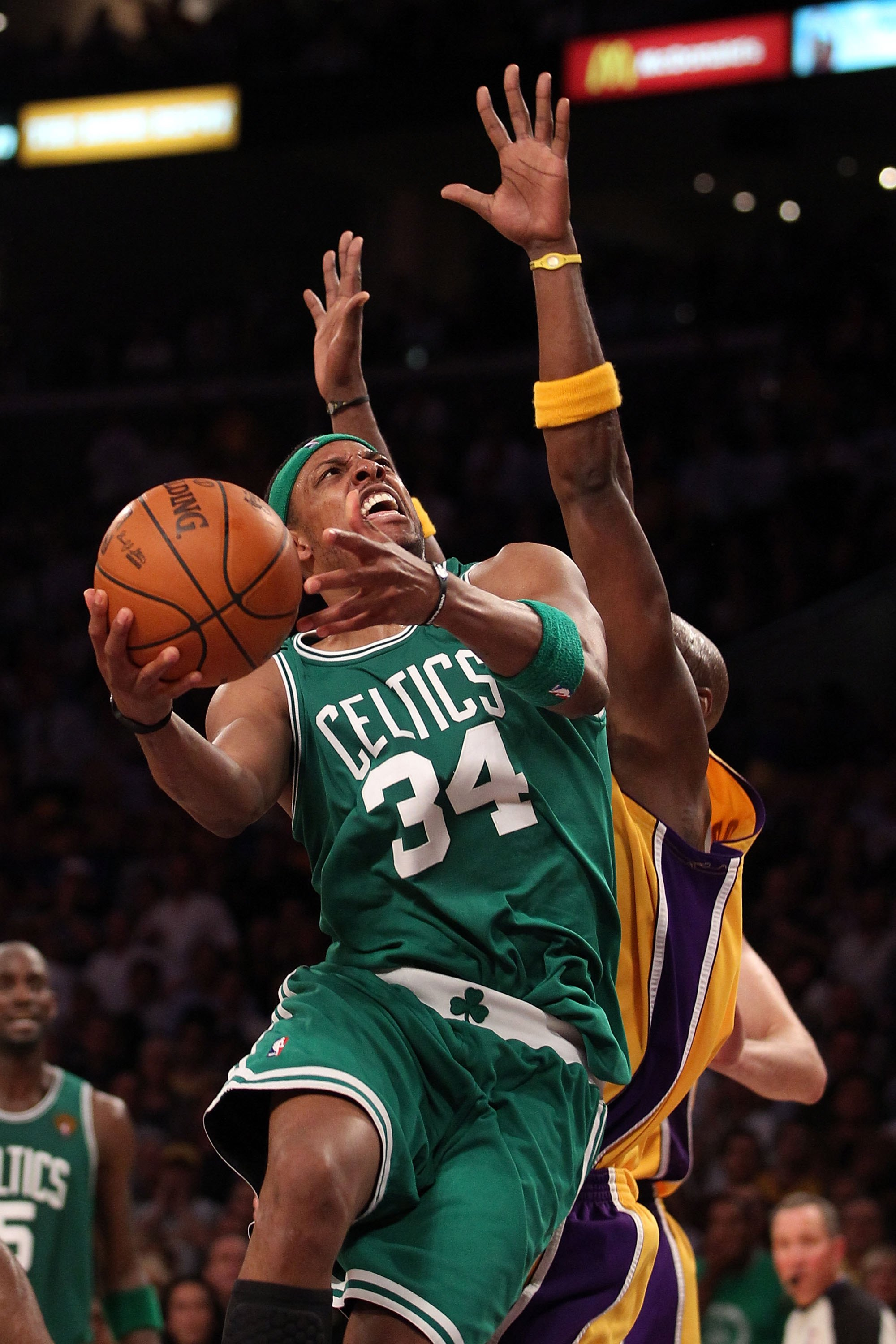 LOS ANGELES, CA - JUNE 15:  Paul Pierce #34 of the Boston Celtics goes up for a shot while taking on the Los Angeles Lakers in Game Six of the 2010 NBA Finals at Staples Center on June 15, 2010 in Los Angeles, California.  NOTE TO USER: User expressly ack