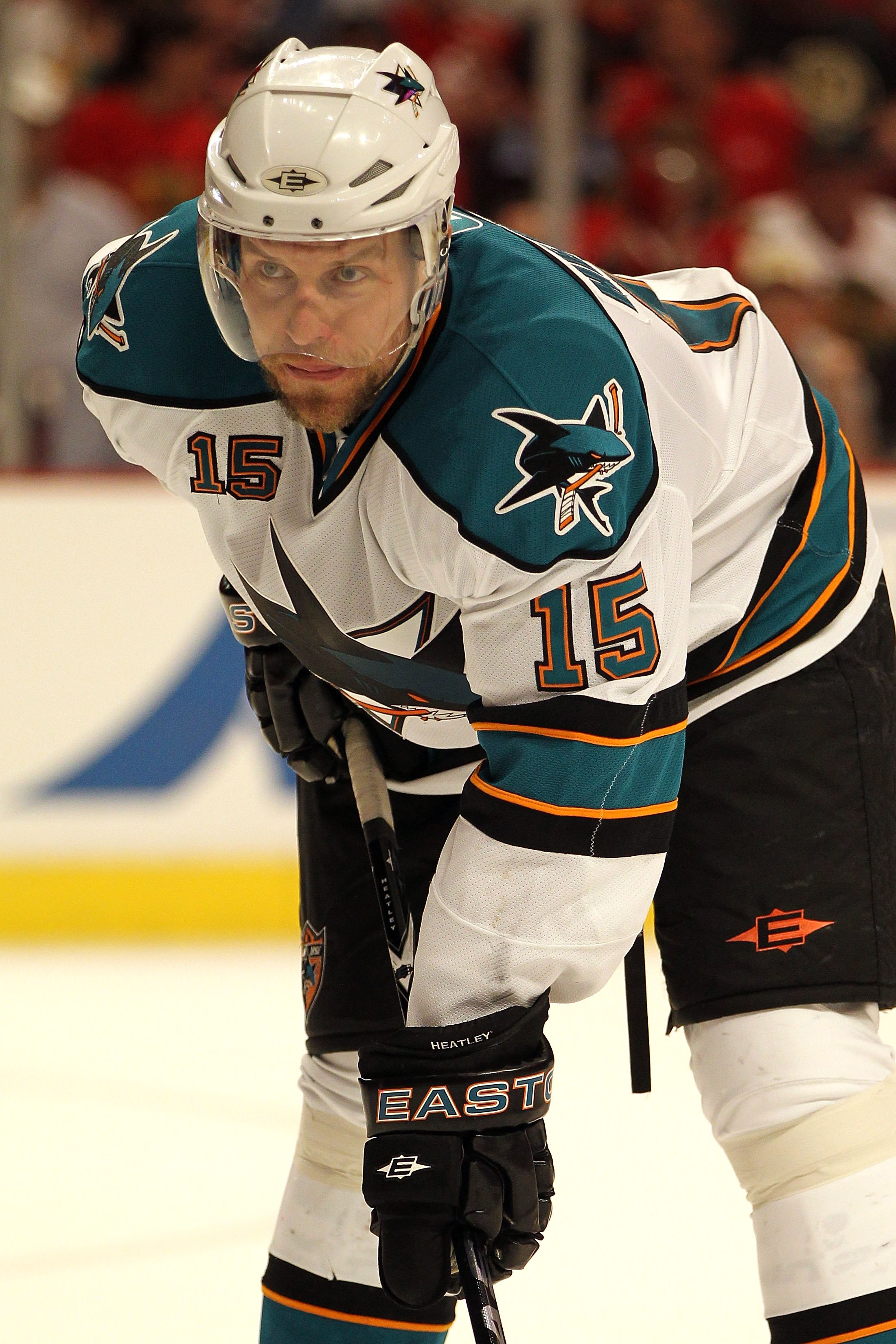 CHICAGO - MAY 23:  Dany Heatley #15 of the San Jose Sharks looks on while taking on the Chicago Blackhawks in Game Four of the Western Conference Finals during the 2010 NHL Stanley Cup Playoffs at the United Center on May 23, 2010 in Chicago, Illinois.  (