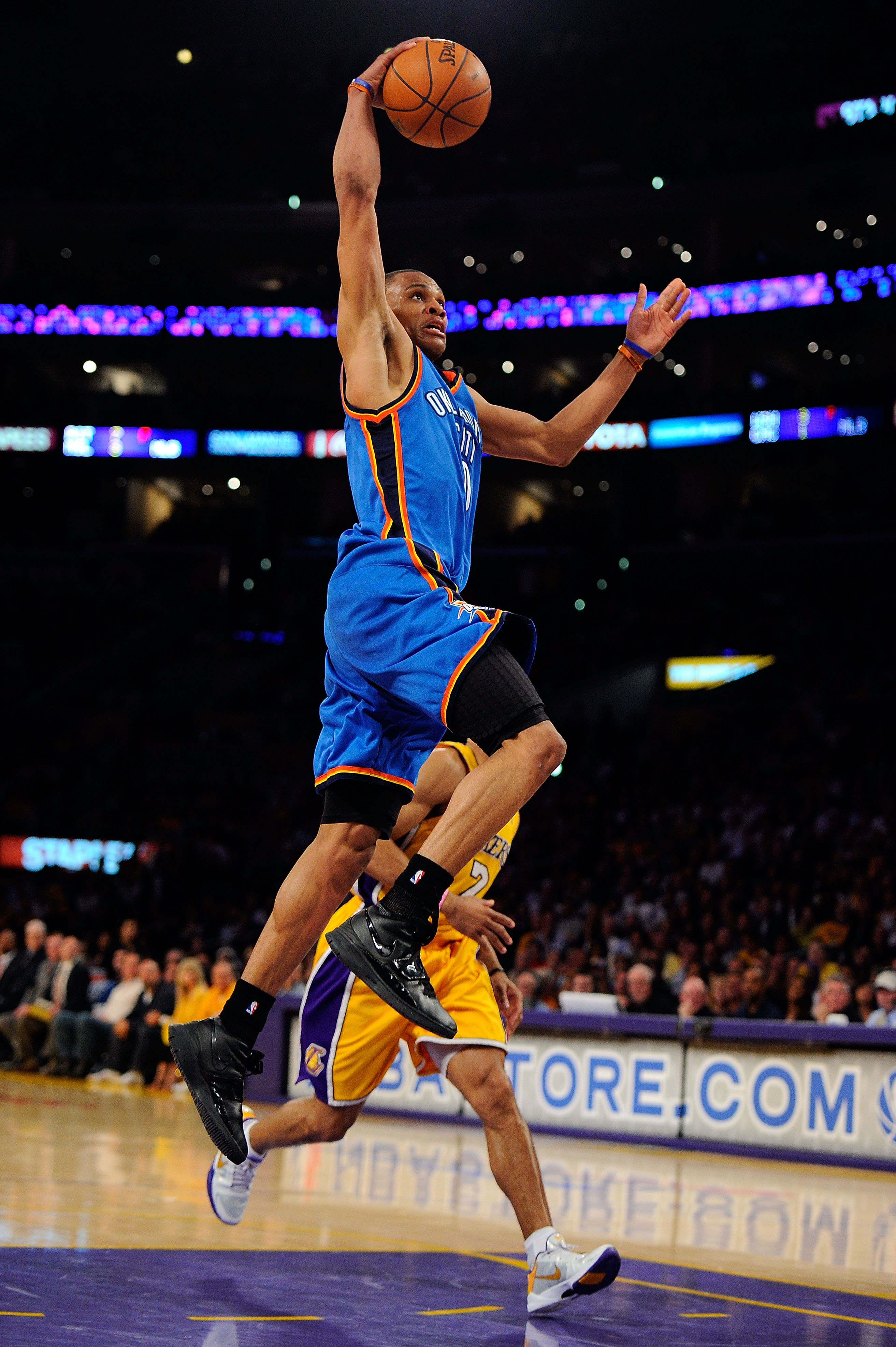 LOS ANGELES, CA - APRIL 27:  Russell Westbrook #0 of the Oklahoma City Thunder goes up for a dunk in the second quarter while taking on the Los Angeles Lakers during Game Two of the Western Conference Quarterfinals of the 2010 NBA Playoffs at Staples Cent