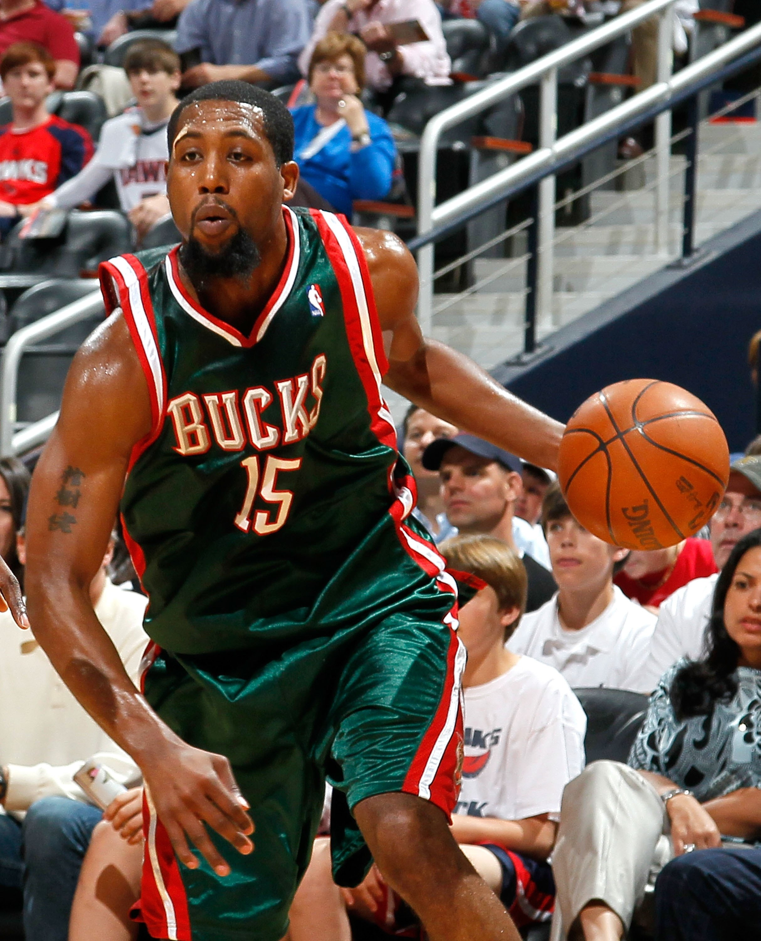 ATLANTA - APRIL 20:  John Salmons #15 of the Milwaukee Bucks against the Atlanta Hawks at Philips Arena on April 20, 2010 in Atlanta, Georgia.  NOTE TO USER: User expressly acknowledges and agrees that, by downloading and/or using this Photograph, User is