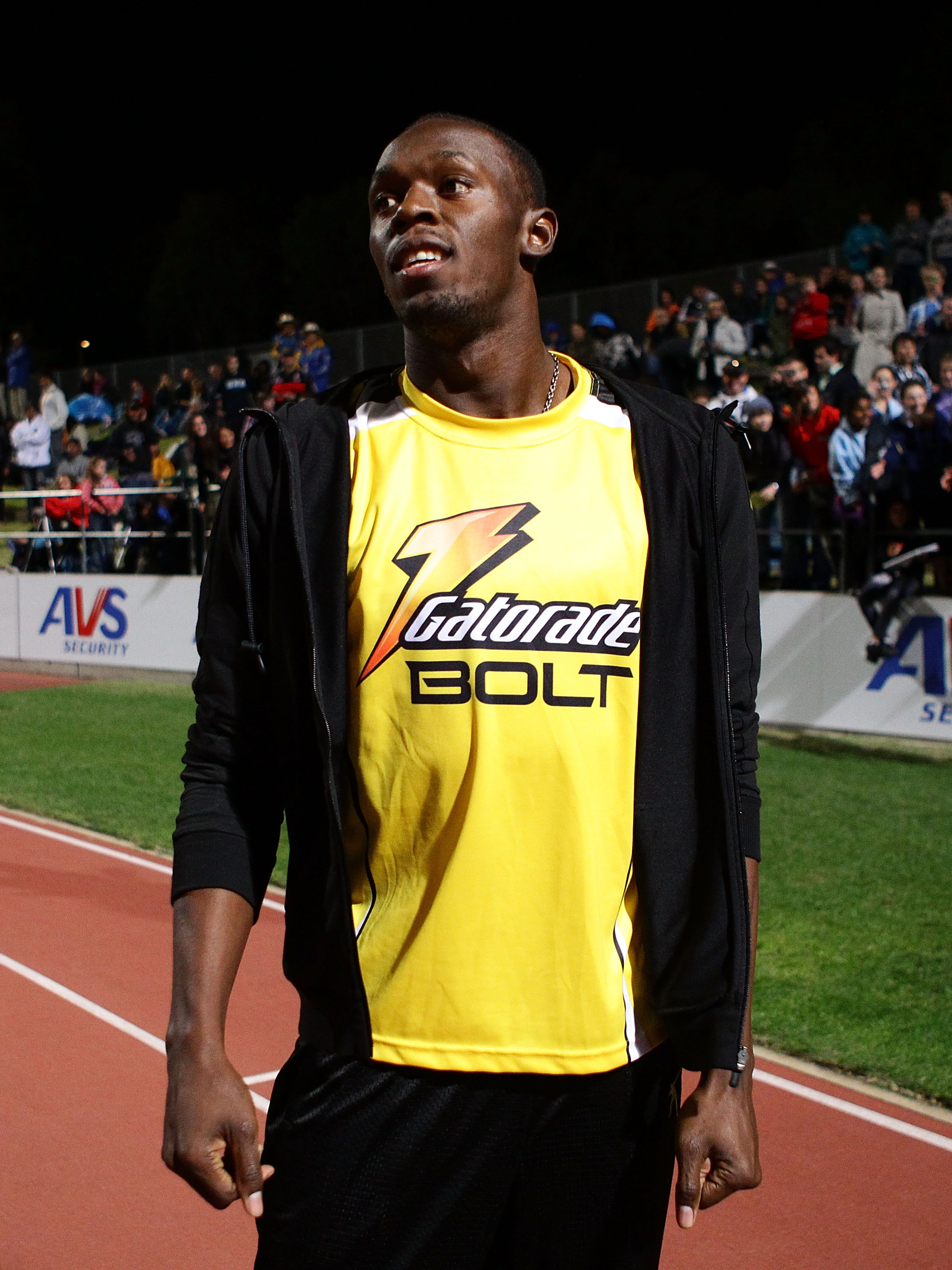 SYDNEY, AUSTRALIA - SEPTEMBER 15:  Usain Bolt of Jamaica acknowledges the crowd during the Athletic Allstars Meet at Sydney Olympic Park Athletic Centre on September 15, 2010 in Sydney, Australia.  (Photo by Matt King/Getty Images)