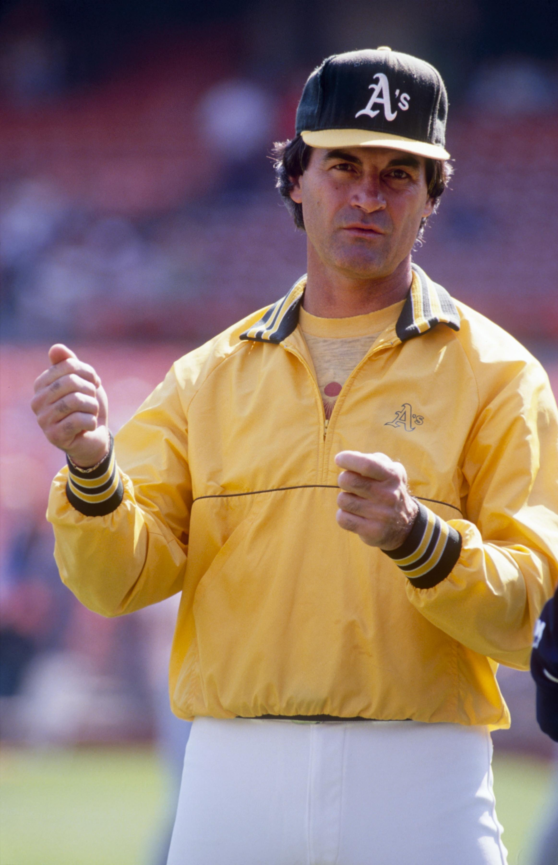OAKLAND, CA - CIRCA 1988:  Manager Tony LaRussa of the Oakland Athletics looks on during batting practice prior to an MLB game circa 1988 at the Oakland-Alameda County Coliseum in Oakland, California. (Photo by Otto Greule Jr./Getty Images)
