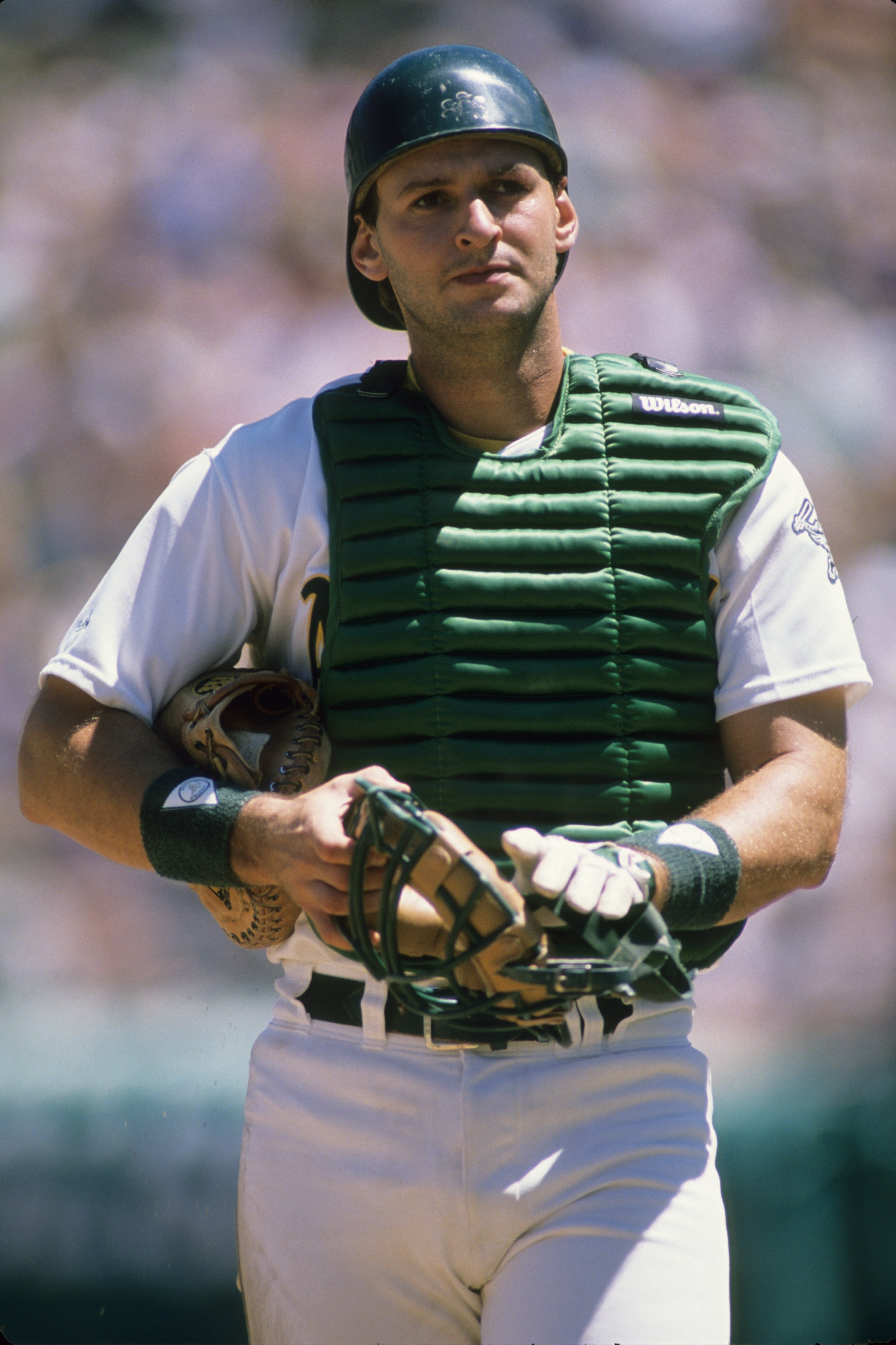 OAKLAND, CA - CIRCA 1988:  Catcher Terry Steinbach #36 of the Oakland Athletics looks on during an MLB game circa 1988 at Oakland-Alameda County Coliseum in Oakland, California. (Photo by Otto Greule Jr./Getty Images)