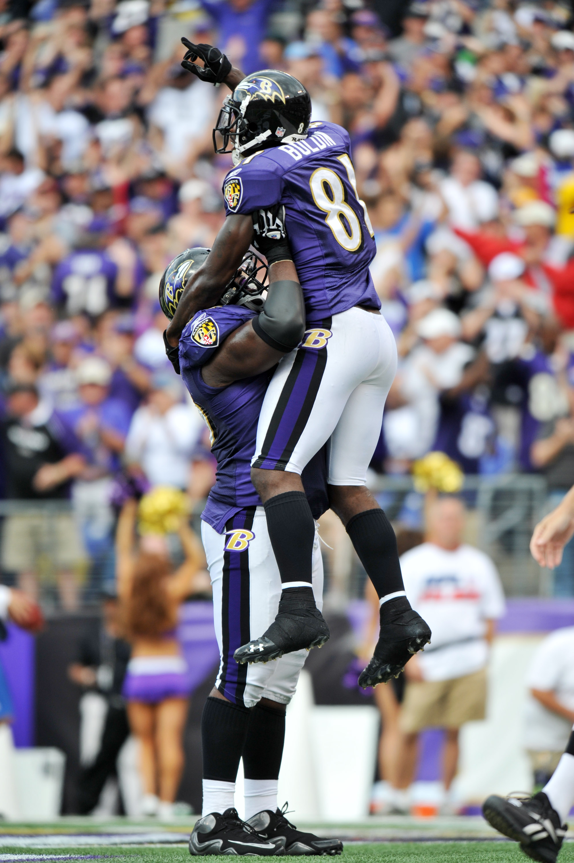 BALTIMORE - SEPTEMBER 26:  Anquan Boldin #81 of the Baltimore Ravens celebrates one of his three touchdowns against the Cleveland Browns  at M&T Bank Stadium on September 26, 2010 in Baltimore, Maryland. The Ravens defeated the Browns 24-17. (Photo by Lar