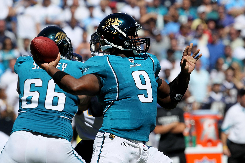 c57e975337f SAN DIEGO - SEPTEMBER 19  Qjuarterback David Garrard  9 of the Jacksonville  Jaguars throws