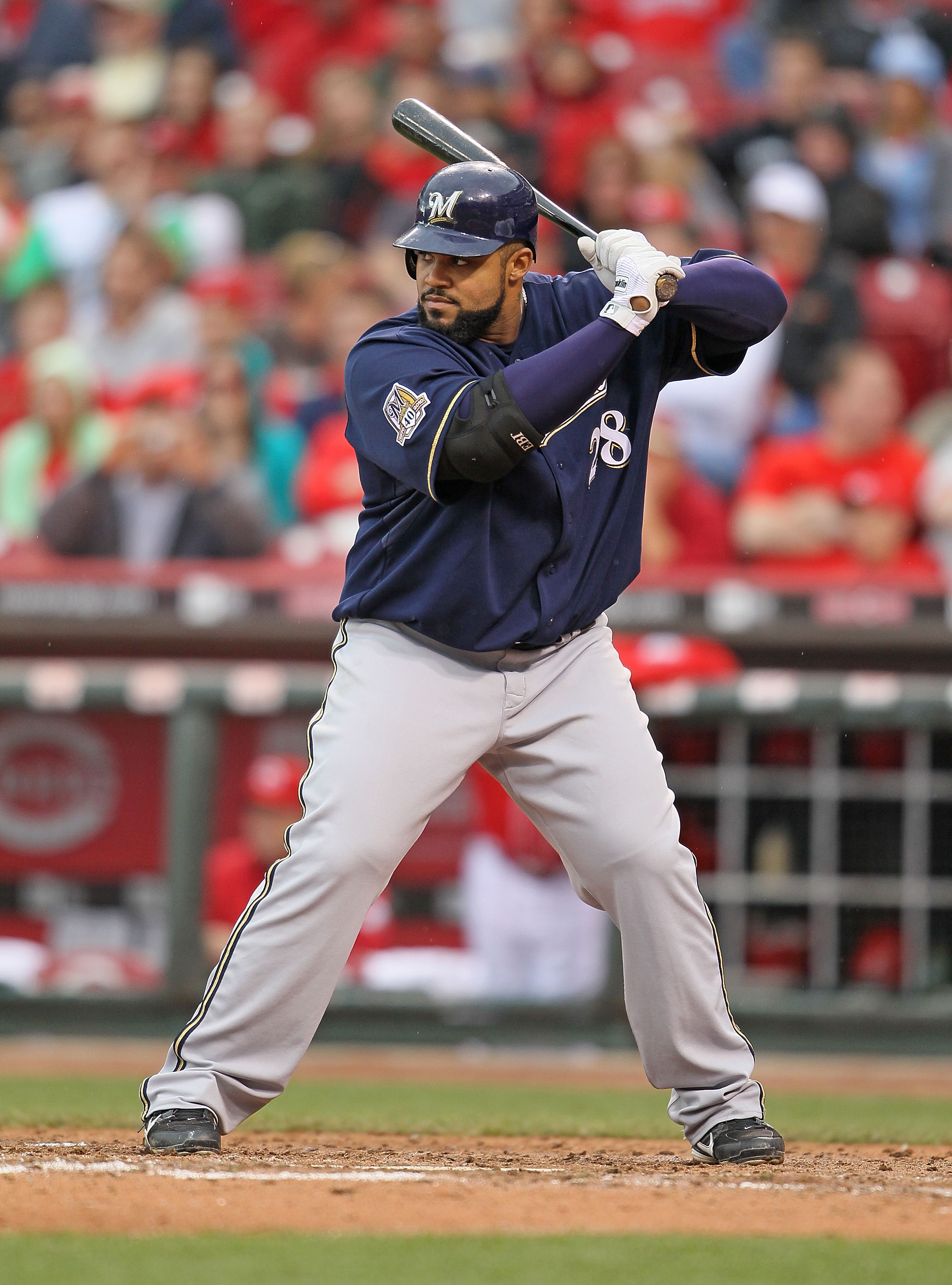 ff1fc1c2e2d6 CINCINNATI - MAY 18  Prince Fielder  28 of the Milwaukee Brewers is at bat