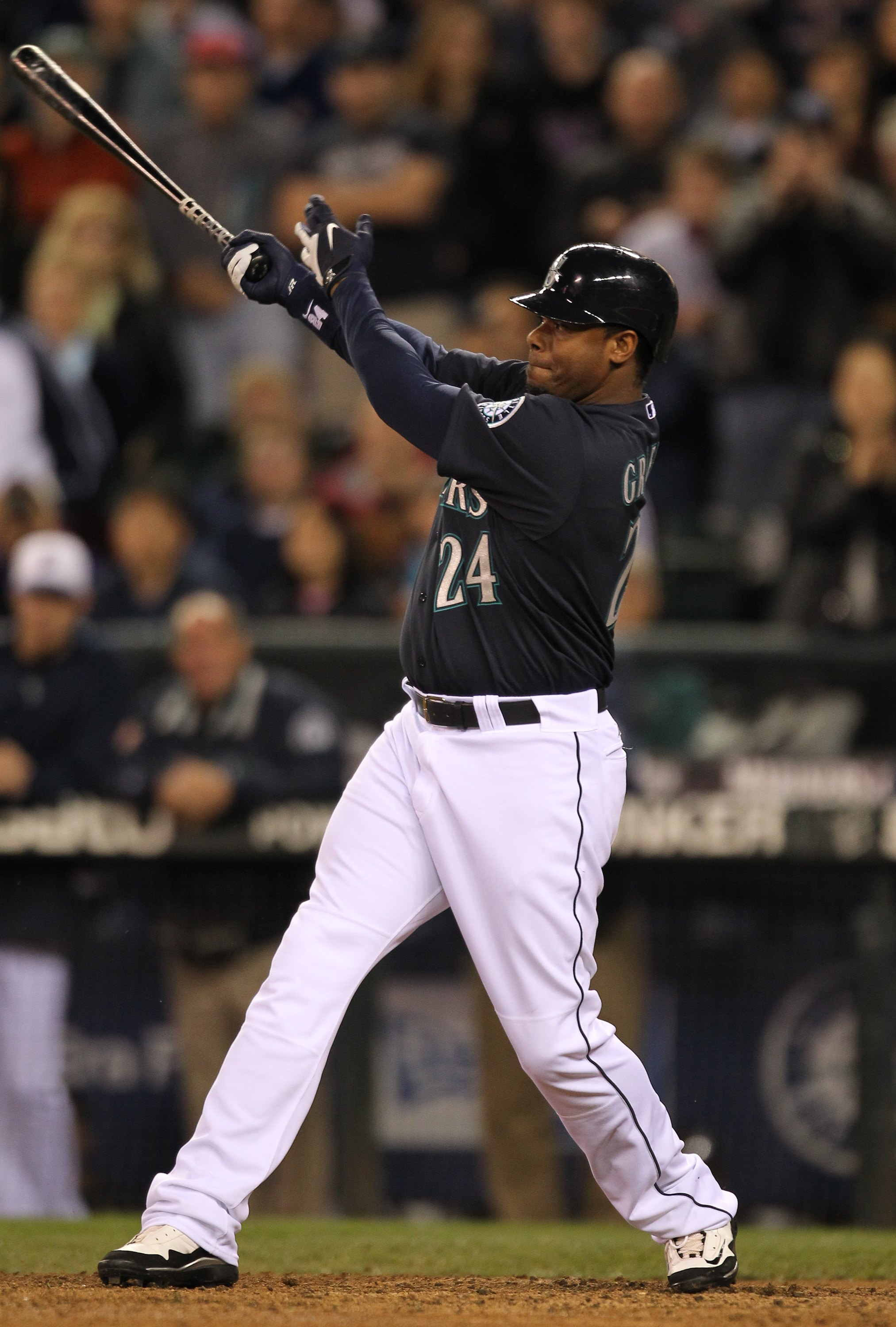SEATTLE - MAY 31:  Ken Griffey Jr. #24 of the Seattle Mariners bats against the Minnesota Twins at Safeco Field on May 31, 2010 in Seattle, Washington. (Photo by Otto Greule Jr/Getty Images)