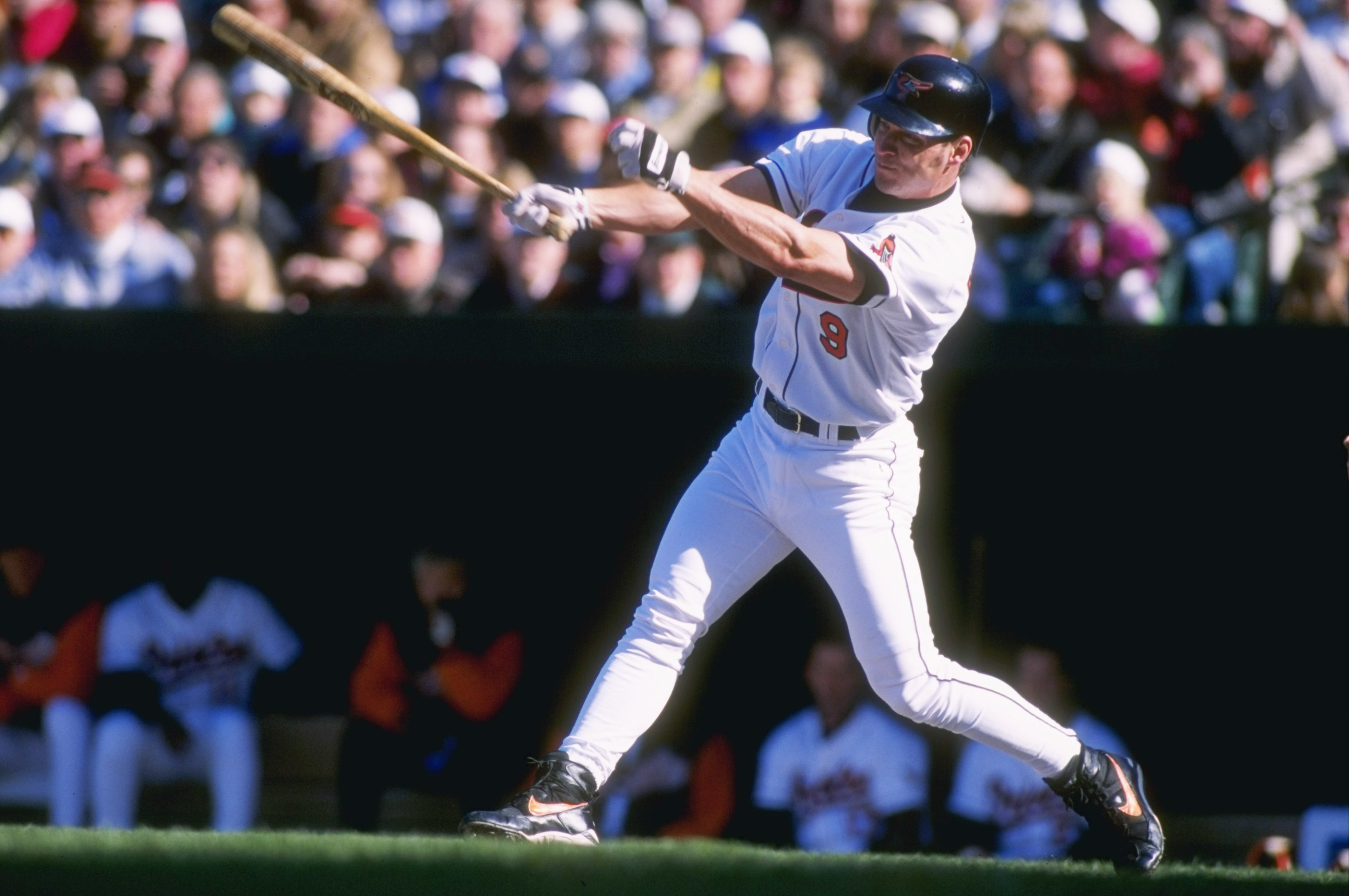 2 Apr 1996:  Centerfielder Brady Anderson of the Baltimore Orioles stares into the outfield as he follows through on a swing following a hit in the Orioles 4-2 victory over the Kansas City Royals in Oriole Park at Camden Yards in Baltimore, Maryland.  Man