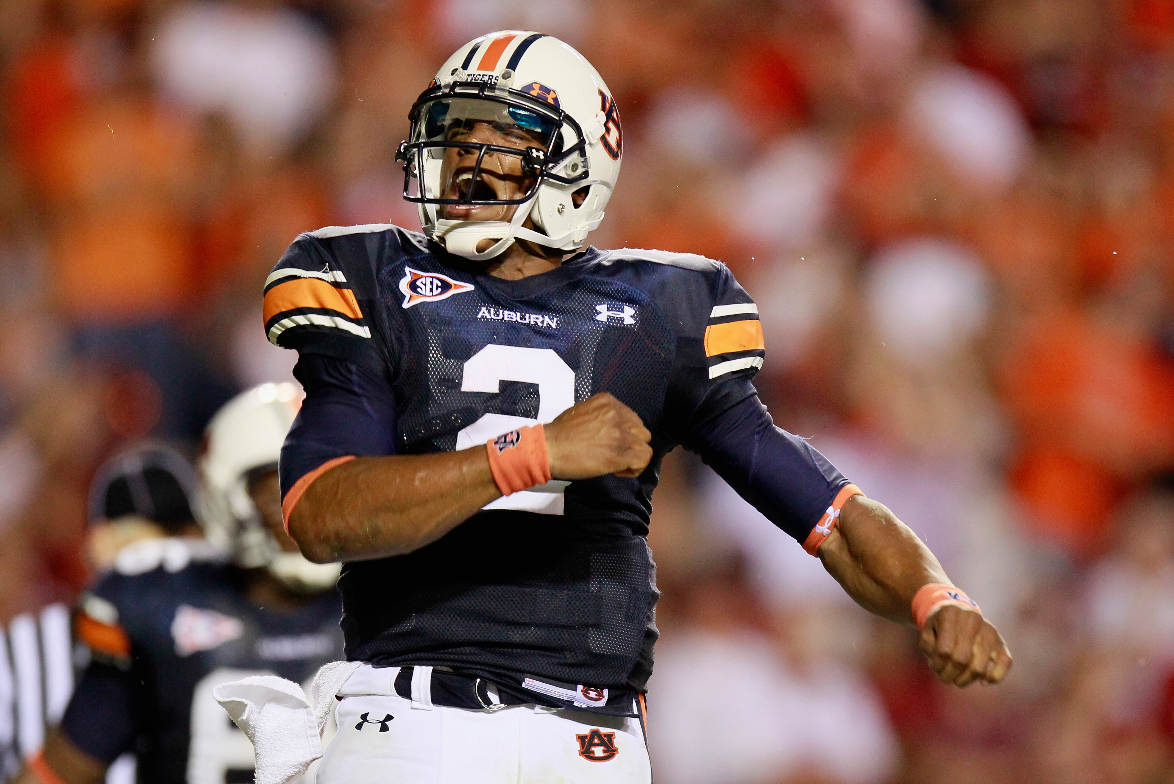 AUBURN, AL - SEPTEMBER 25:  Quarterback Cameron Newton #2 of the Auburn Tigers reacts after rushing in a touchdown against the South Carolina Gamecocks at Jordan-Hare Stadium on September 25, 2010 in Auburn, Alabama.  (Photo by Kevin C. Cox/Getty Images)