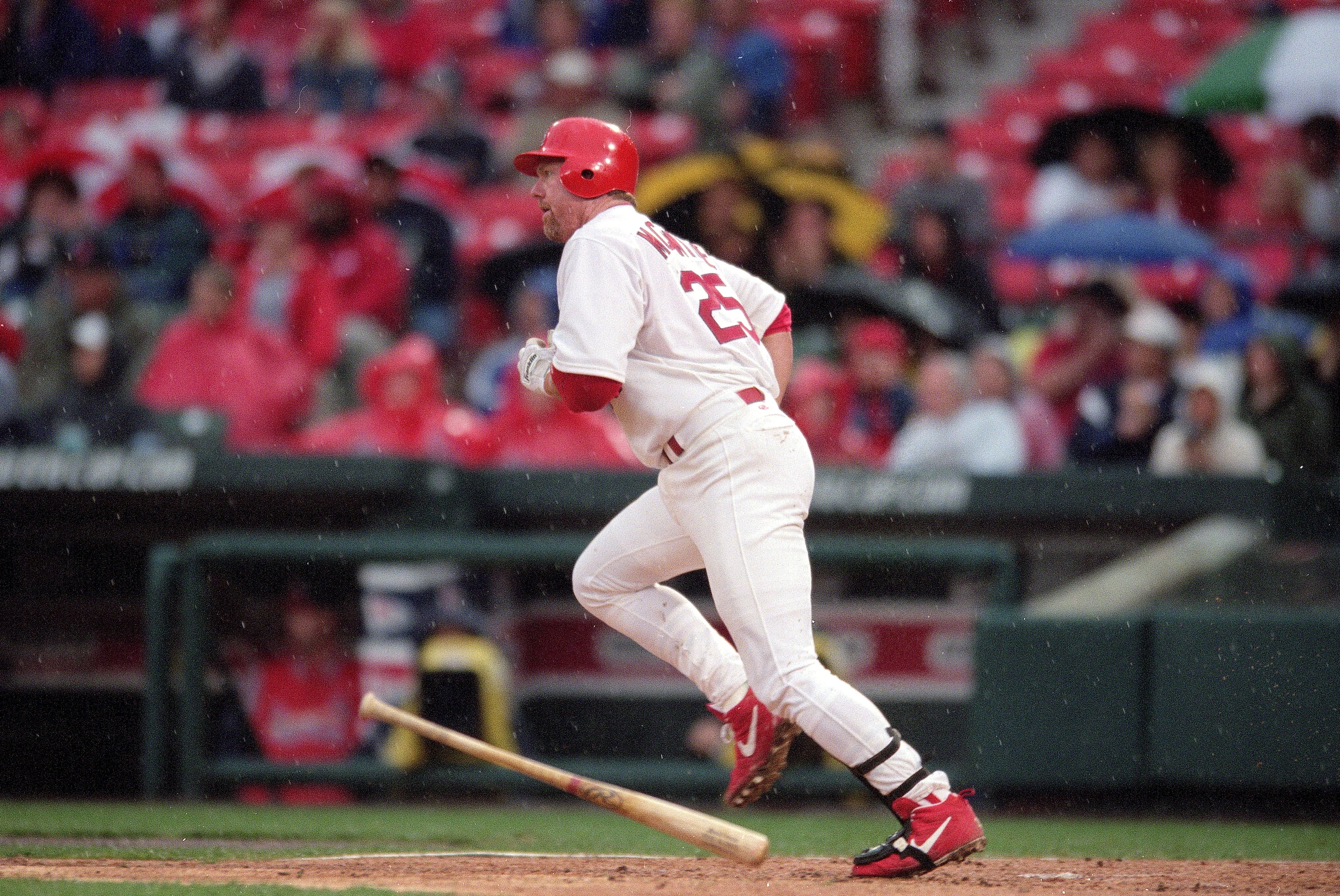 23 Apr 2000:  Mark McGwire #25 of the St. Louis Cardinals in action during the game against the Colorado Rockies at Busch Stadium in St. Louis, Missouri. The Cardinals defeated the Rockies 6-3. Mandatory Credit: Elsa Hasch  /Allsport