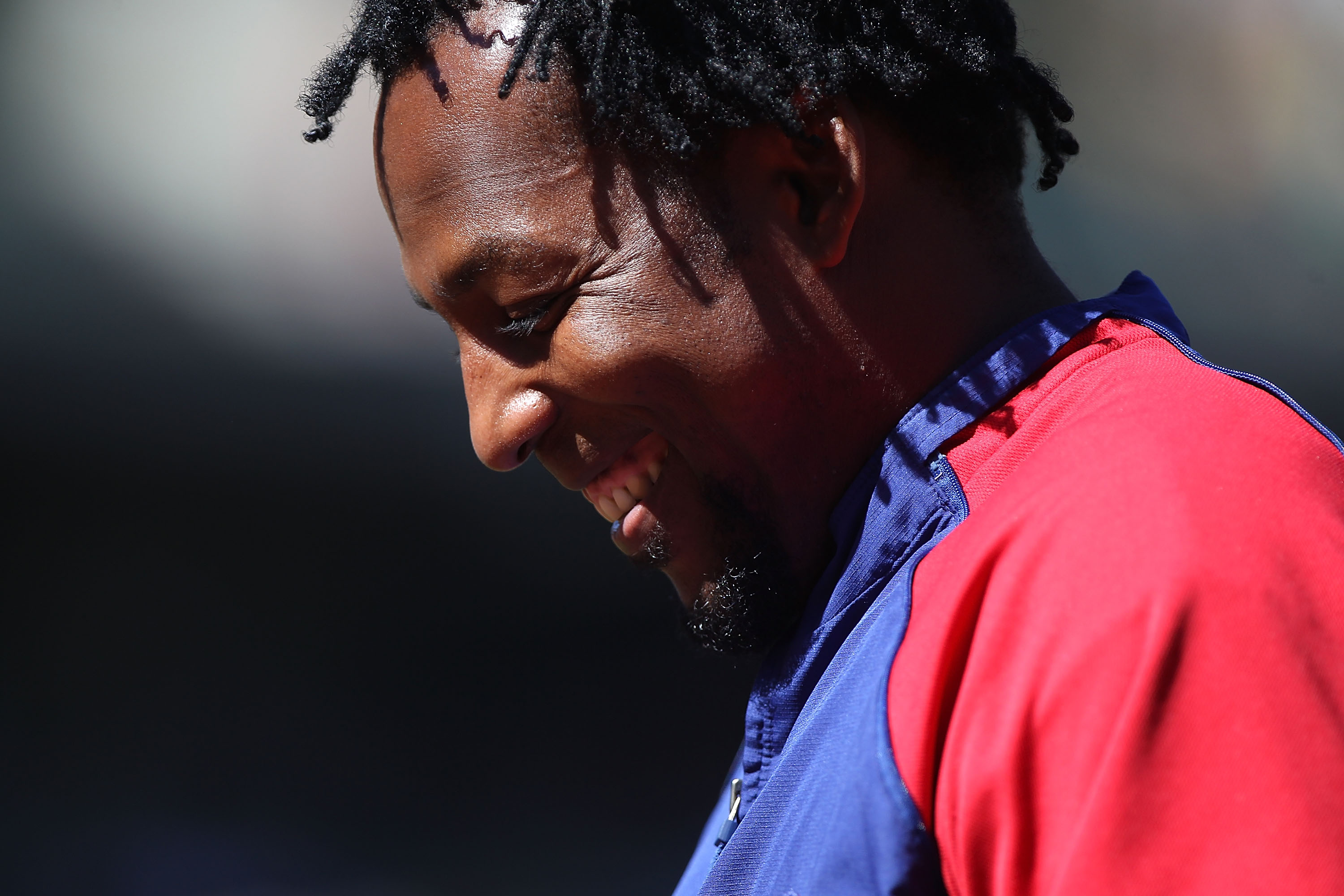 OAKLAND, CA - SEPTEMBER 26:  Vladimir Guerrero #27 of the Texas Rangers looks on against the Oakland Athletics during a Major League Baseball game at the Oakland-Alameda County Coliseum on September 26, 2010 in Oakland, California.  (Photo by Jed Jacobsoh