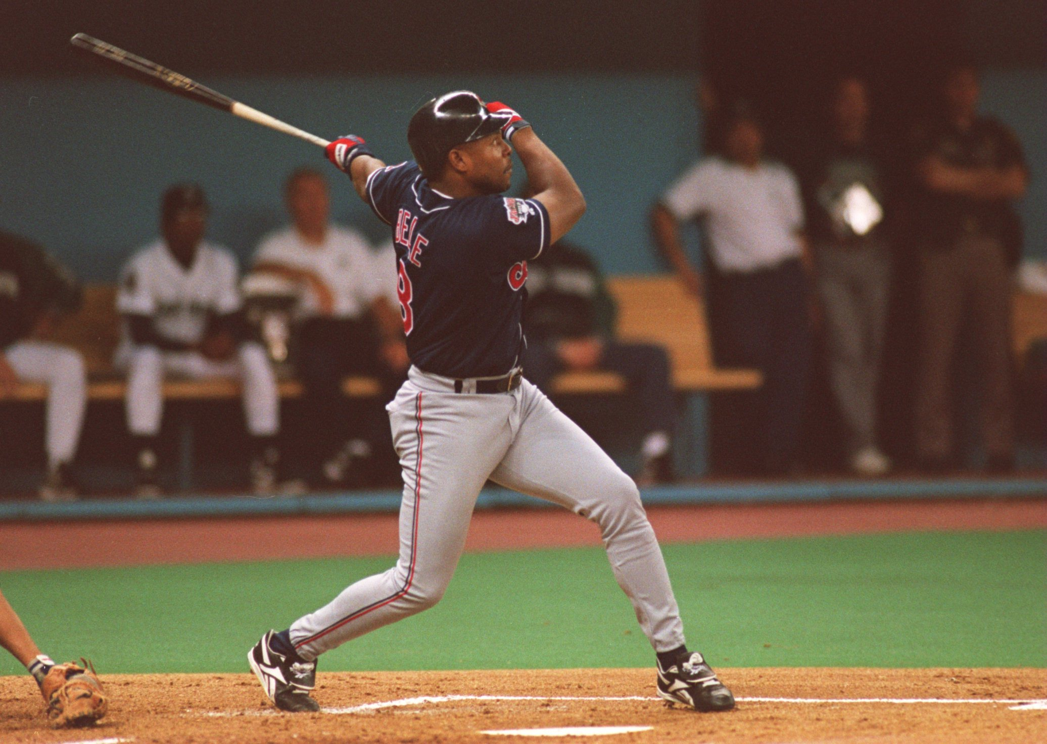 10 OCT 1995:  CLEVELAND RIGHT FIELDER BATTER ALBERT BELLE MAKES CONTACT WITH A PITCH DURING THE INDIANS GAME VERSUS THE SEATTLE MARINERS IN GAME ONE OF THE AMERICAN LEAGUE CHAMPIONSHIP SERIES AT THE KINGDOME IN SEATTLE, WASHINGTON.  SEATTLE WON THE GAME 3
