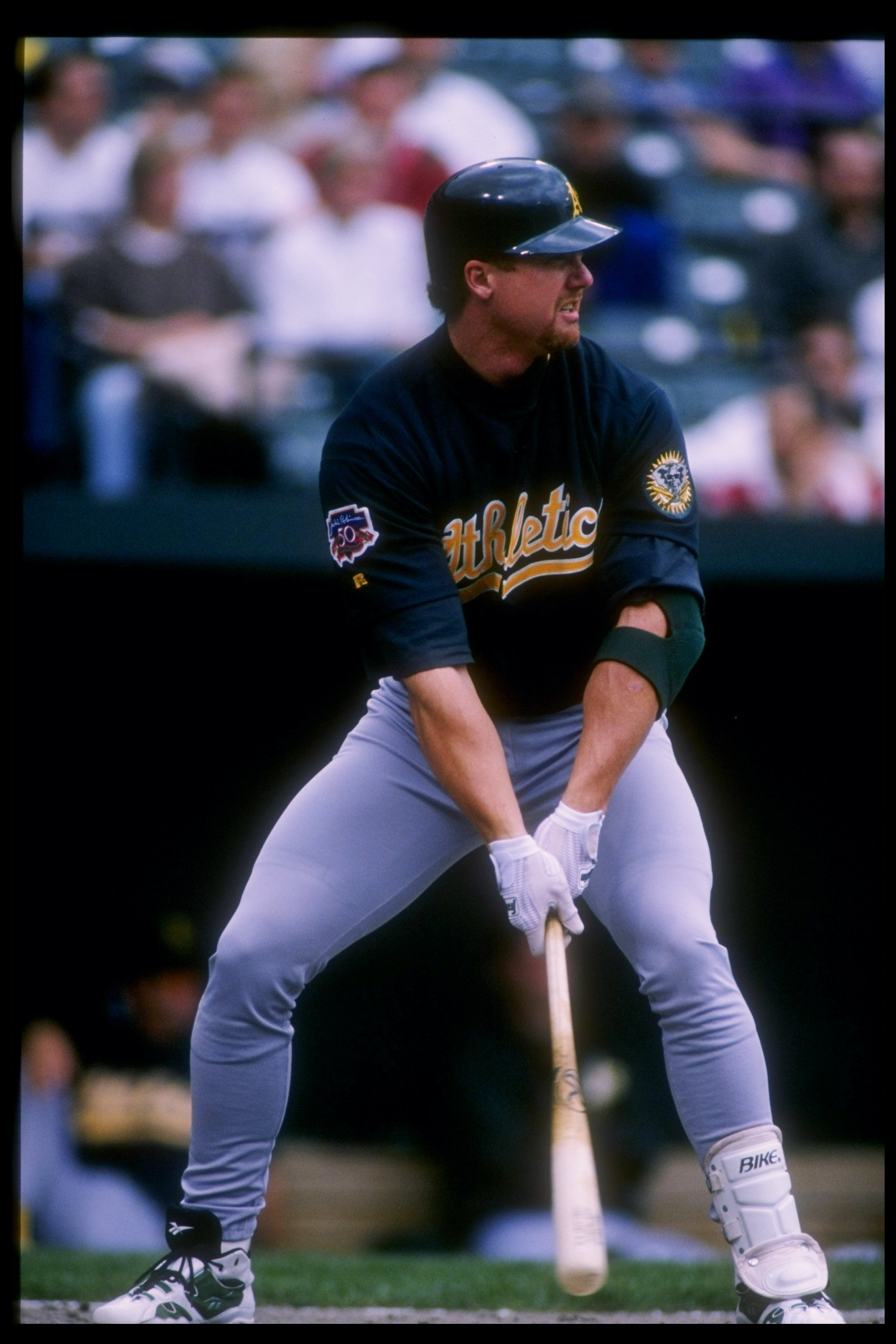 3 May 1997:  Infielder Mark McGwire of the Oakland Athletics prepares to take his turn at bat during a game against the Baltimore Orioles at Oriole Park at Camden Yards in Baltimore, Maryland.  The A''s won the game 4-3. Mandatory Credit: Doug Pensinger