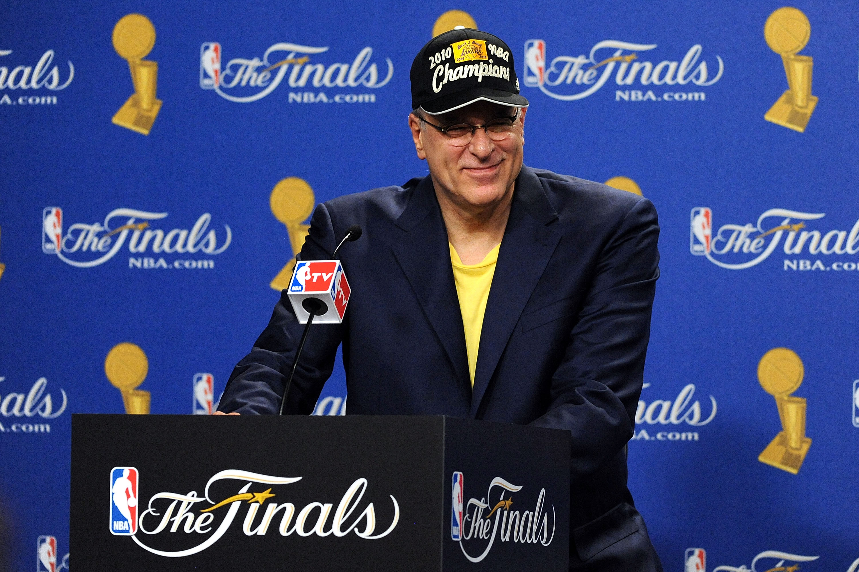LOS ANGELES, CA - JUNE 17:  Head coach Phil Jackson of the Los Angeles Lakers speaks during the post game news conference as he celebrates after the Lakers defeated the Boston Celtics 83-79 in Game Seven of the 2010 NBA Finals at Staples Center on June 17