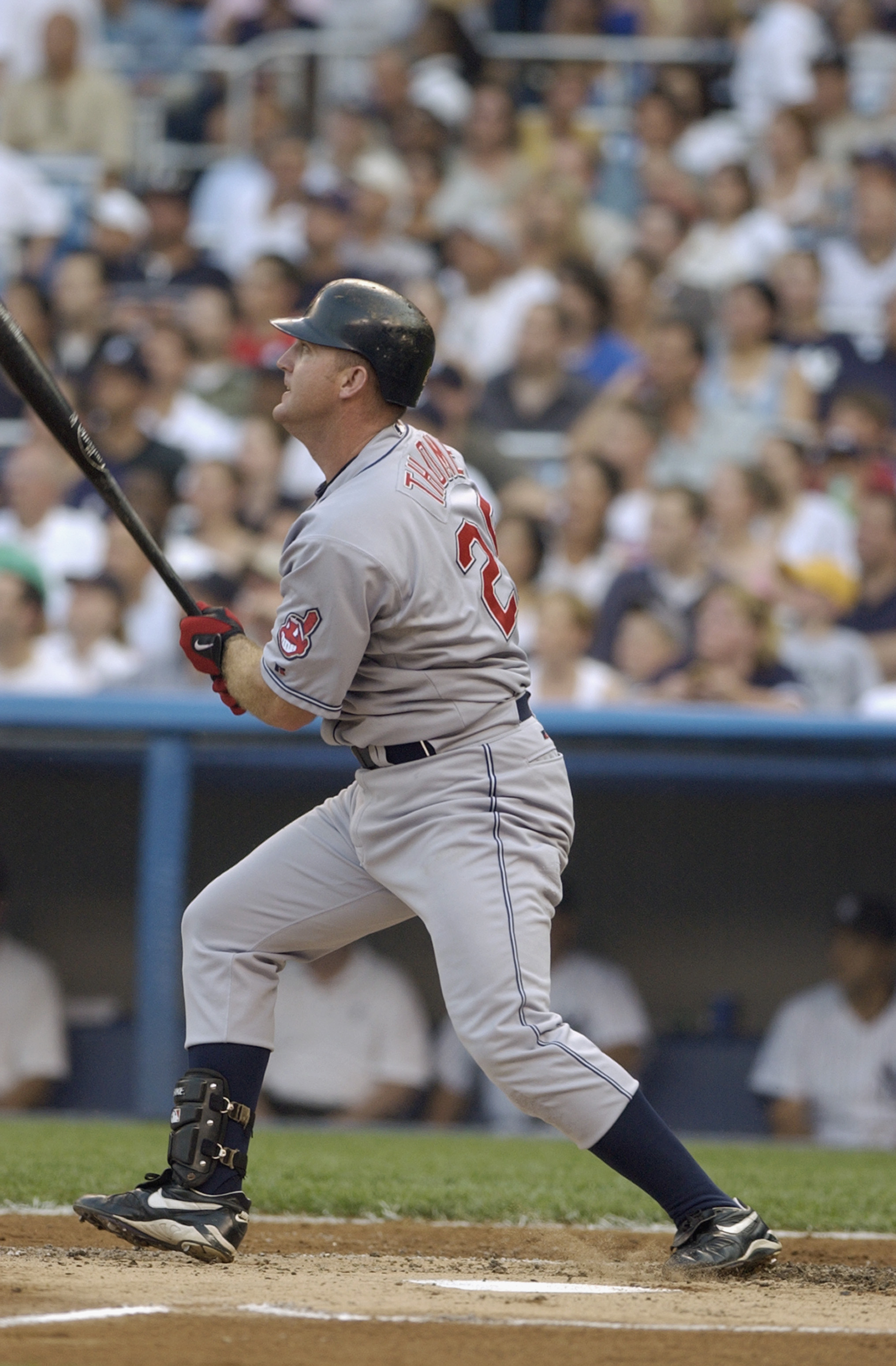BRONX, NY - JULY 02:  Jim Thome #25 of the Cleveland Indians watches his two-run home run go over the wall in the first inning of the MLB game against the New York Yankees on July 2, 2002 at Yankee Stadium in the Bronx, New York. (Photo by Ezra Shaw /Gett