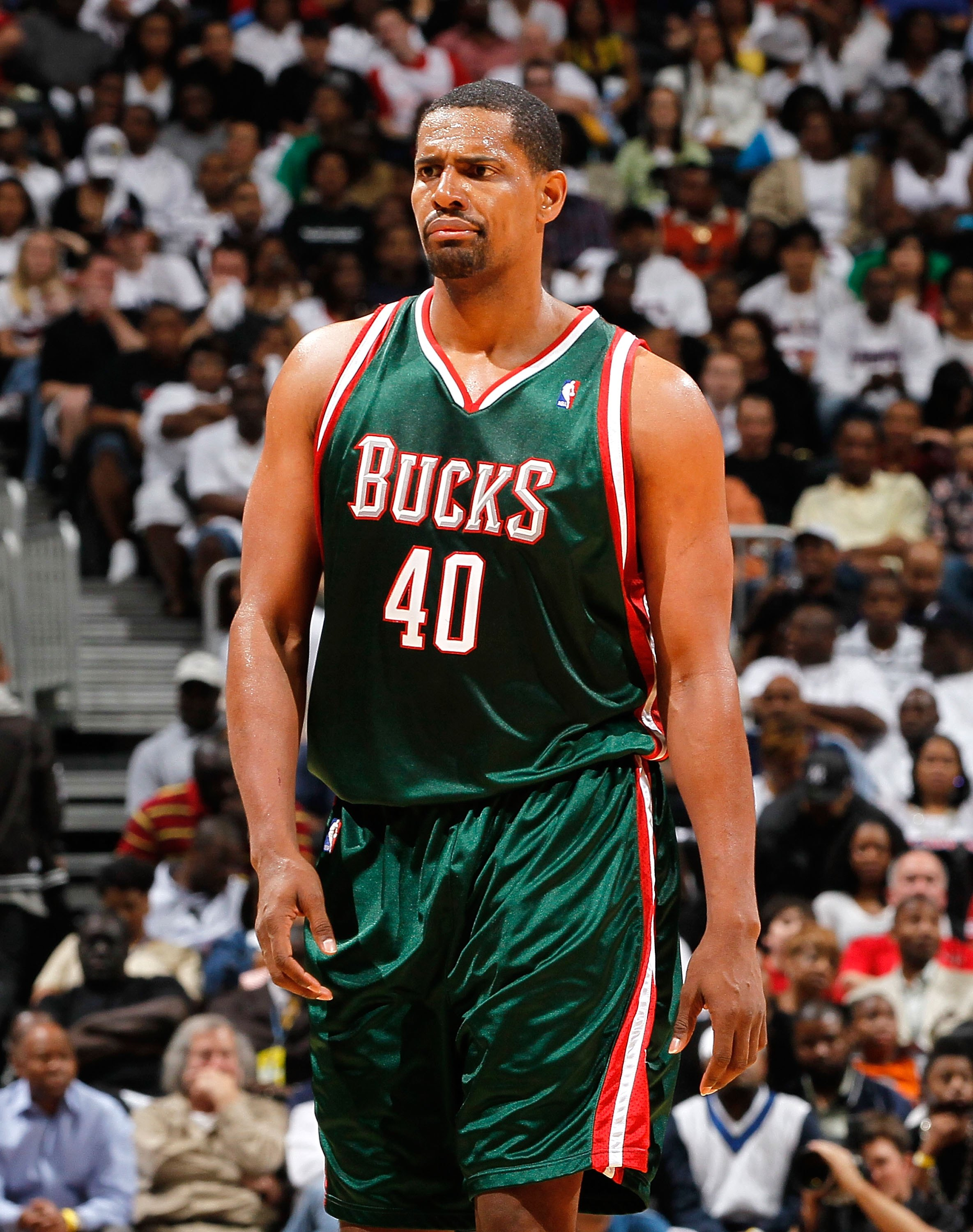ATLANTA - APRIL 28:  Kurt Thomas #40 of the Milwaukee Bucks against the Atlanta Hawks during Game Five of the Eastern Conference Quarterfinals of the 2010 NBA Playoffs at Philips Arena on April 28, 2010 in Atlanta, Georgia.  NOTE TO USER: User expressly a