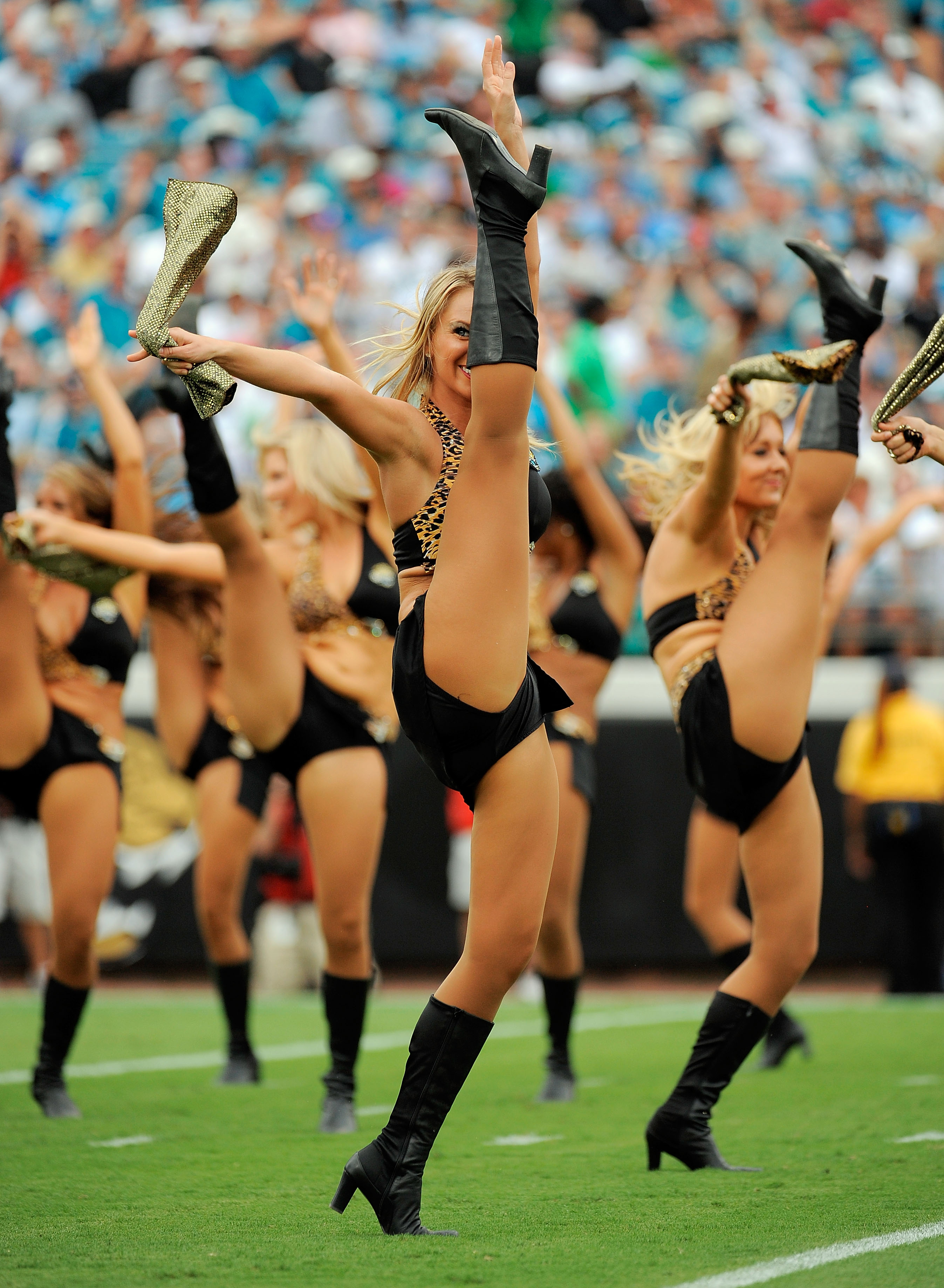 JACKSONVILLE, FL - SEPTEMBER 26: The Jacksonville Jaguars cheerleaders perform during a stoppage in play against the Philadelphia Eagles at EverBank Field on September 26, 2010 in Jacksonville, Florida. The Eagles defeated the Jaguars 28-3.  (Photo by Dou