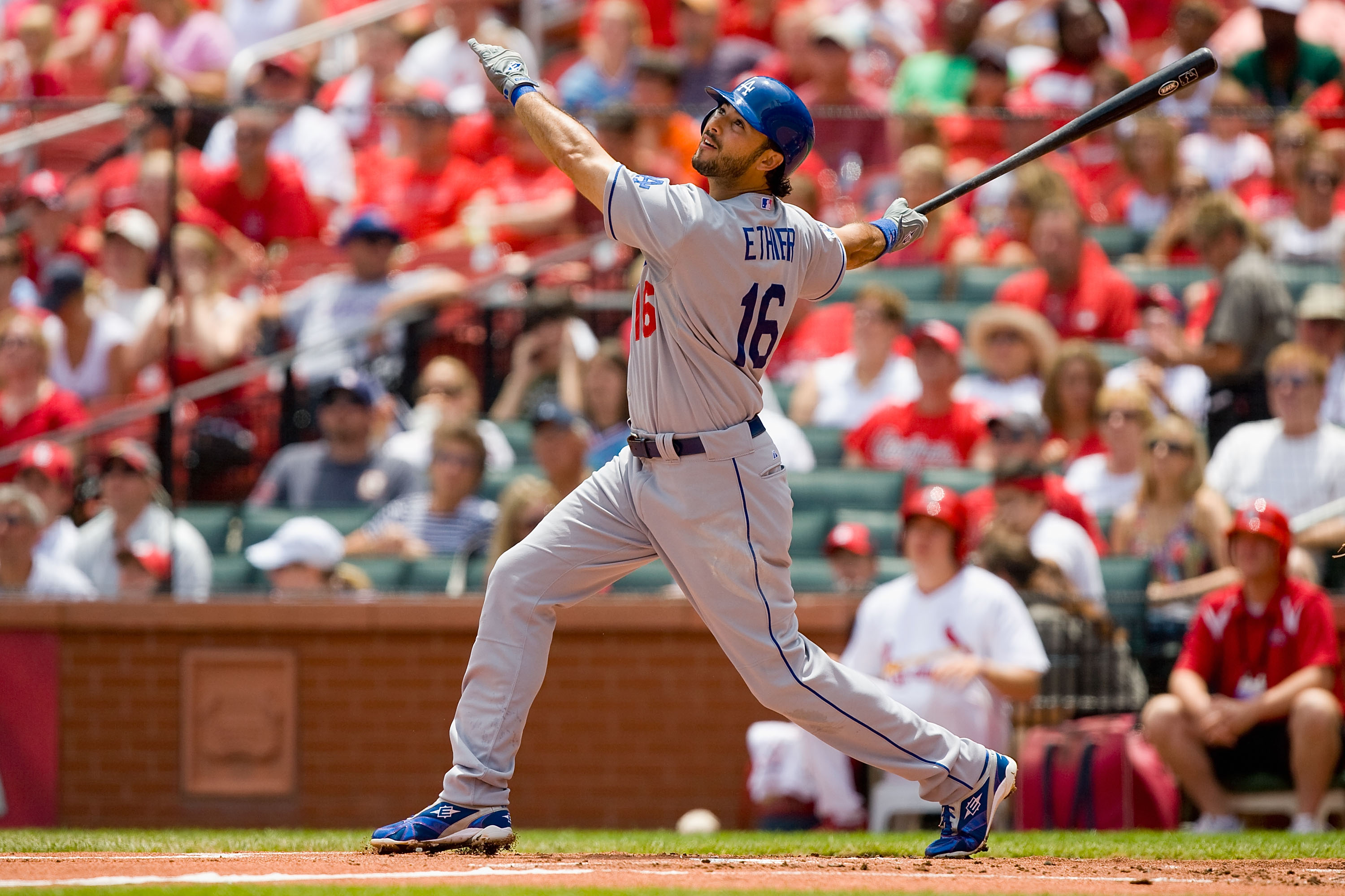 ST. LOUIS - JULY 18: Andre Ethier #16 of the Los Angeles Dodgers in action against the St. Louis Cardinals at Busch Stadium on July 18, 2010 in St. Louis, Missouri.  (Photo by Dilip Vishwanat/Getty Images)