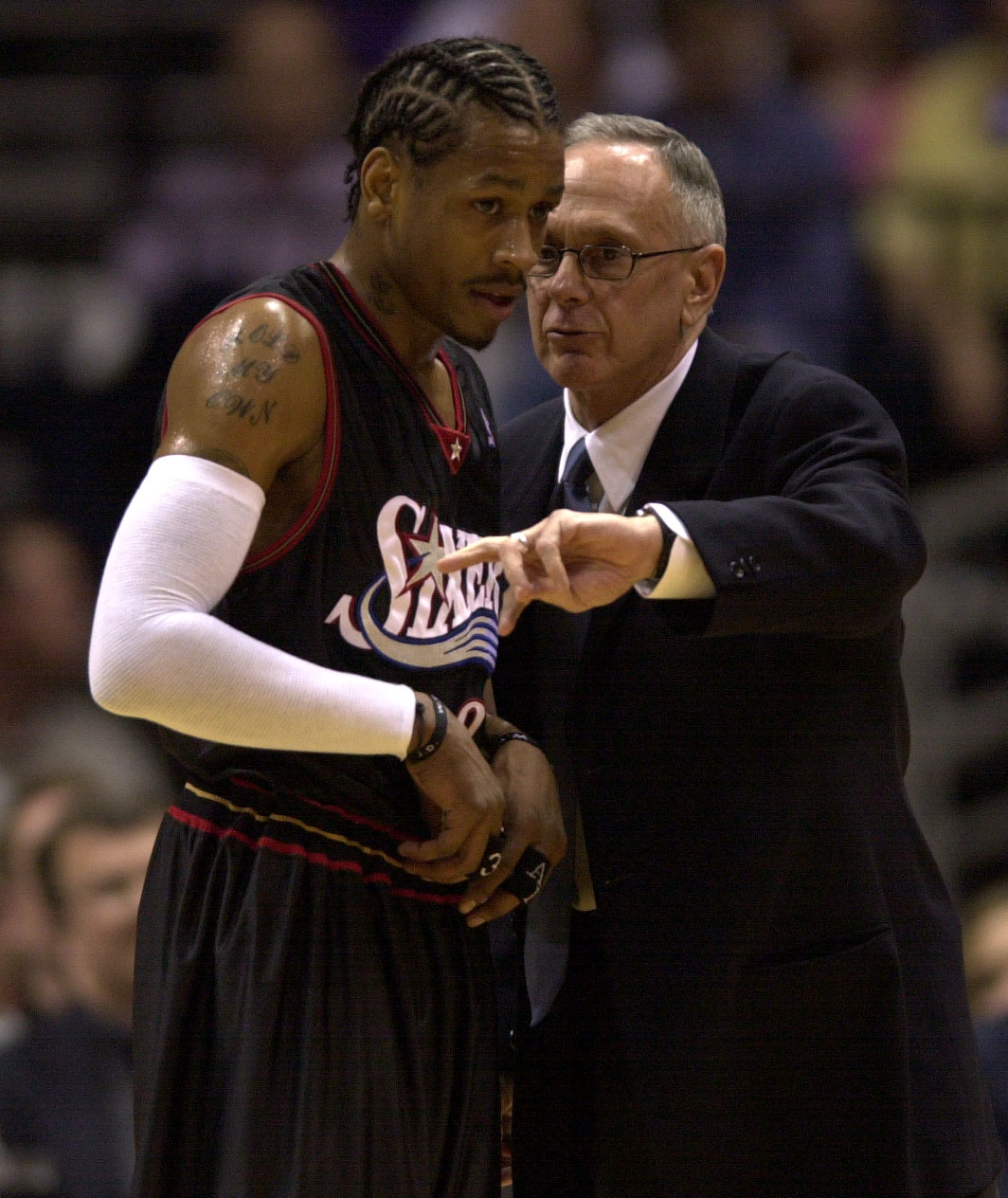28 May 2001:  Allen Iverson #3 of the Philadelphia 76ers, left, receives instruction from Sixers head coach Larry Brown during game four of the NBA Eastern Conference Finals against the Milwaukee Bucks at the Bradley Center in Milwaukee, Wisconsin. The 76