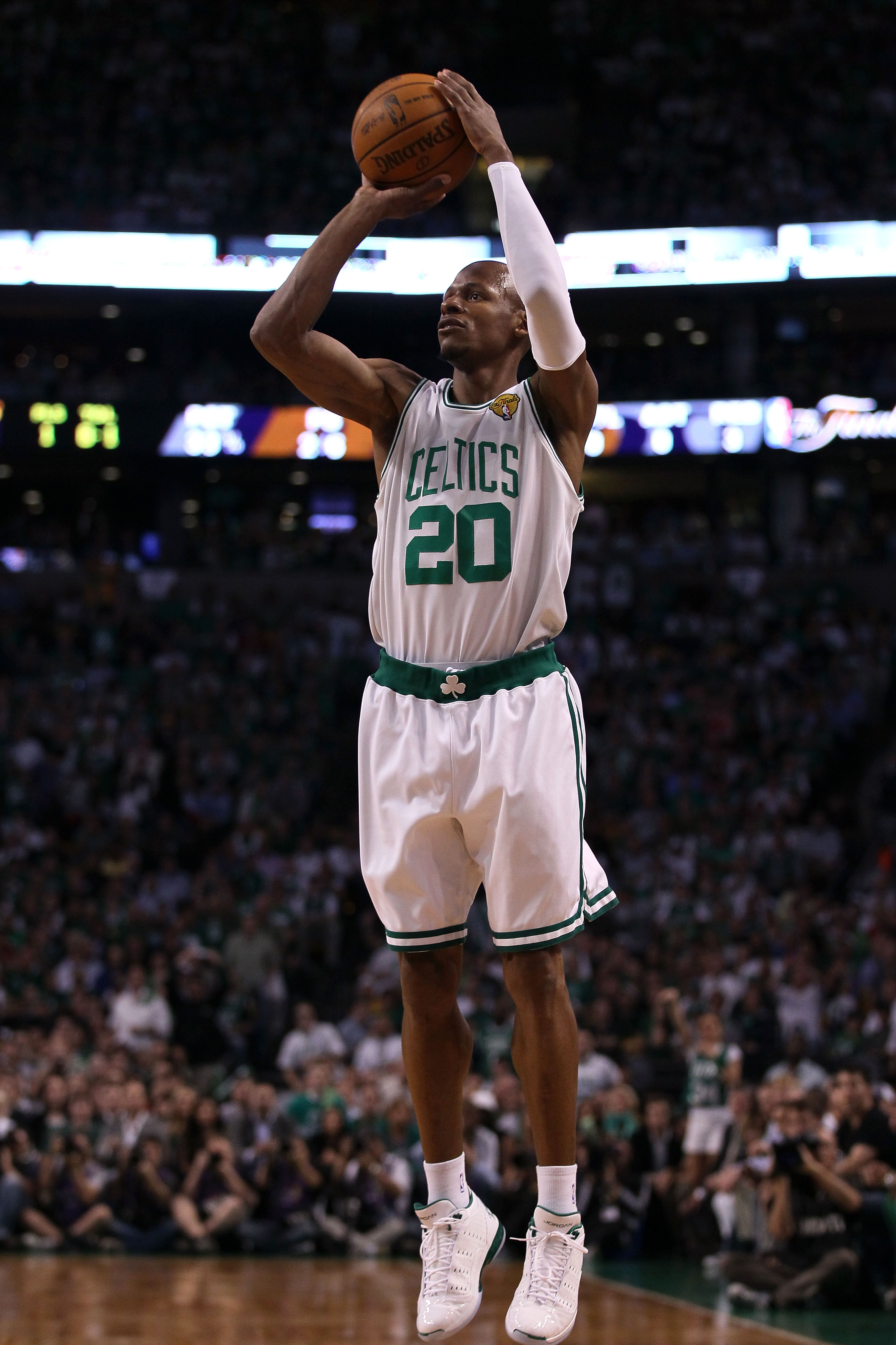BOSTON - JUNE 08:  Ray Allen #20 of the Boston Celtics attempts a shot in the first quarter against the Los Angeles Lakers in Game Three of the 2010 NBA Finals on June 8, 2010 at TD Garden in Boston, Massachusetts. NOTE TO USER: User expressly acknowledge