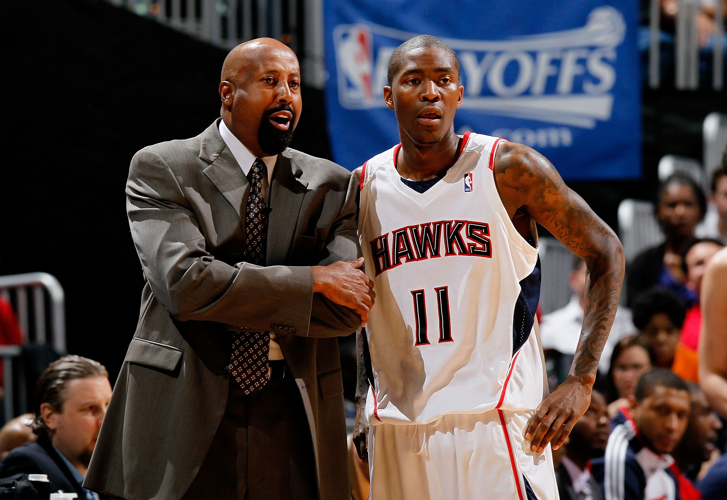 ATLANTA - MAY 10:  Head coach Mike Woodson and Jamal Crawford #11 of the Atlanta Hawks against the Orlando Magic during Game Four of the Eastern Conference Semifinals of the 2010 NBA Playoffs at Philips Arena on May 10, 2010 in Atlanta, Georgia.  NOTE TO