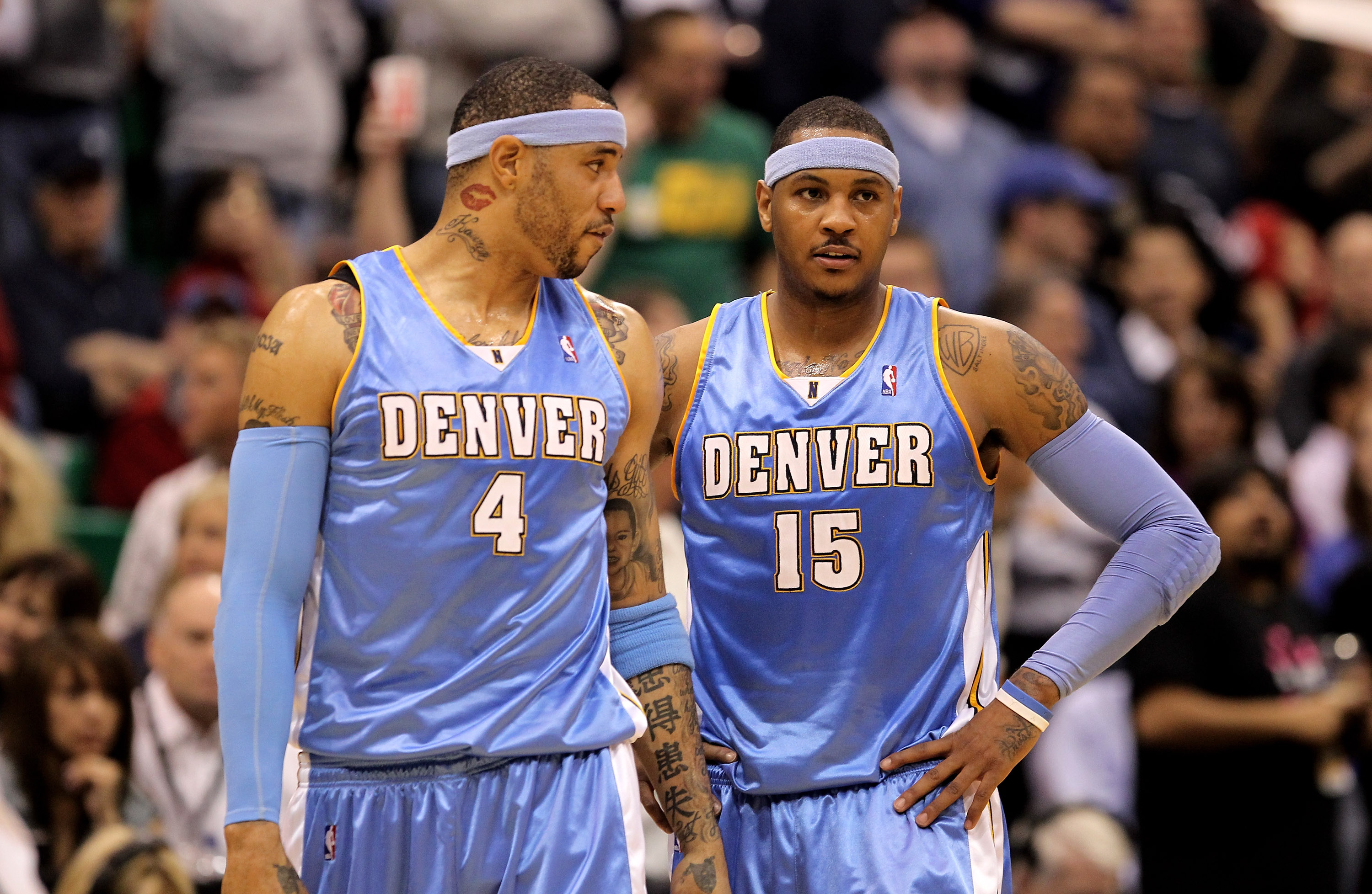 SALT LAKE CITY - APRIL 30:   Kenyon Martin #4 of the Denver Nuggets speaks to teammate Carmelo Anthony #15 during their loss to the Utah Jazz in Game Six of the Western Conference Quarterfinals of the 2010 NBA Playoffs at EnergySolutions Arena on April 30