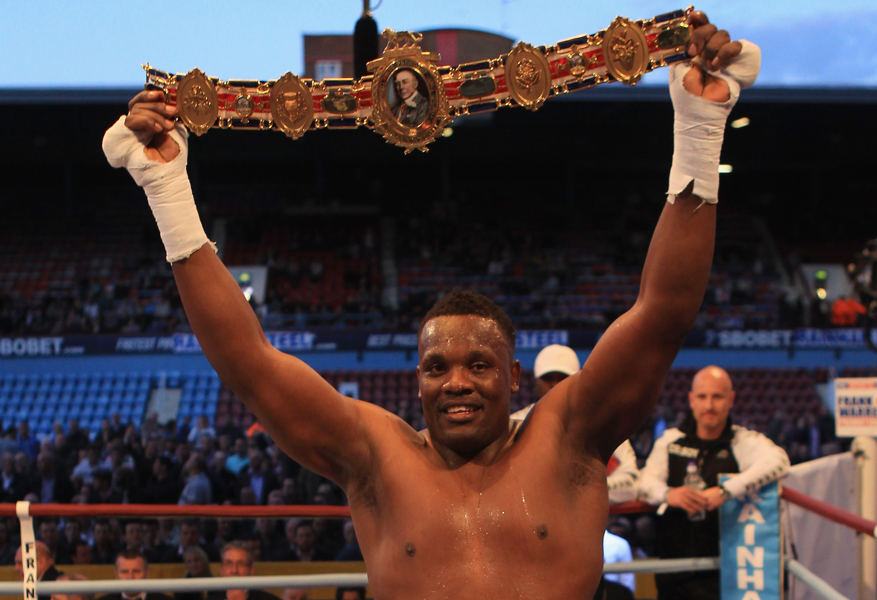 LONDON, ENGLAND - MAY 15:  Derek Chisora celebrates beating Danny Williams for The British Heavyweight Championship at Boleyn Ground on May 15, 2010 in London, England.  (Photo by Warren Little/Getty Images)