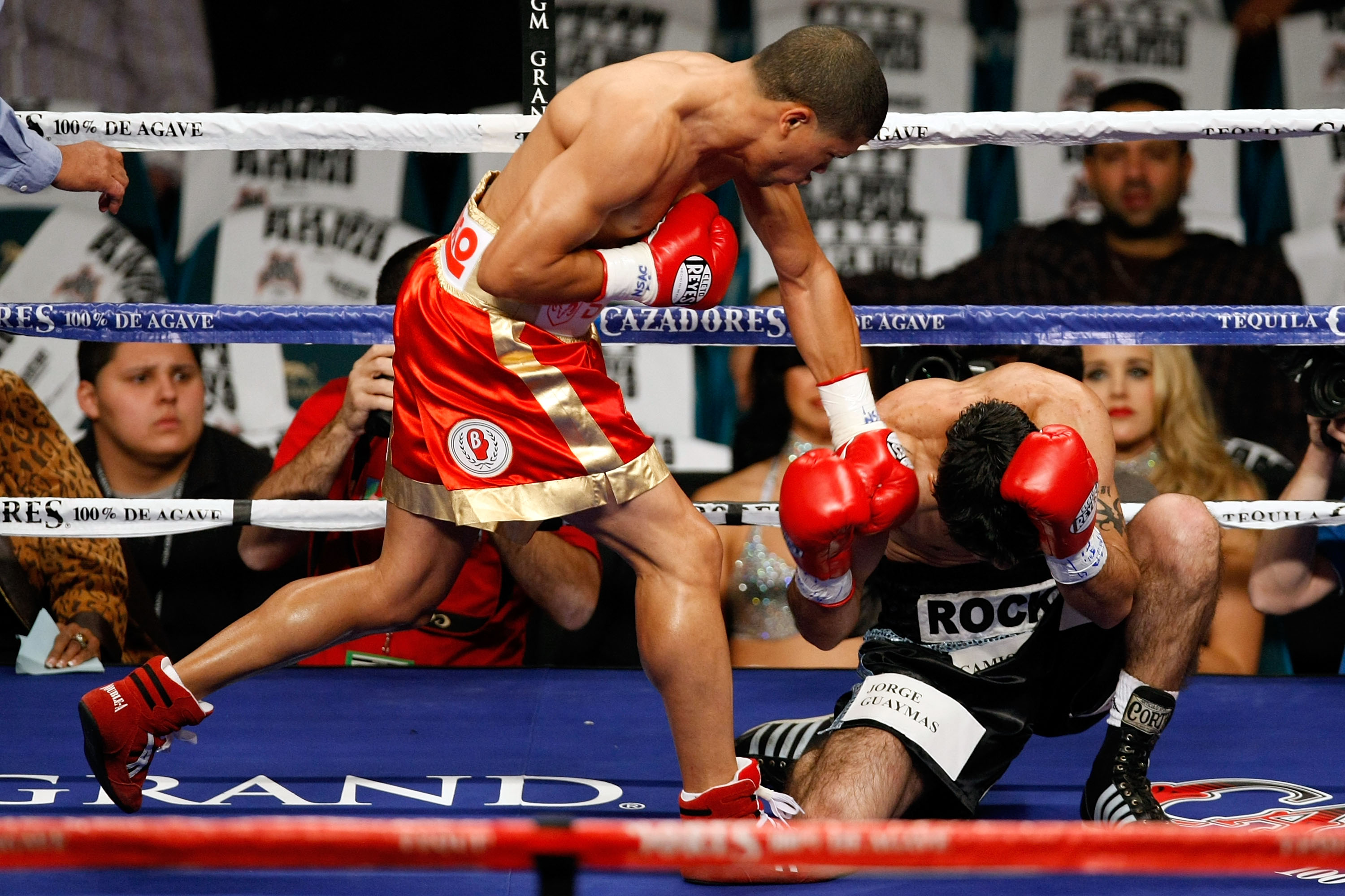 LAS VEGAS - DECEMBER 06:  (L-R) Juan Manuel Lopez of Puerto Rico connects a left to the head of Sergio Medina of Argentina during their WBO junior featherweight title fight at the MGM Grand Garden Arena December 6, 2008 in Las Vegas, Nevada.  (Photo by Et