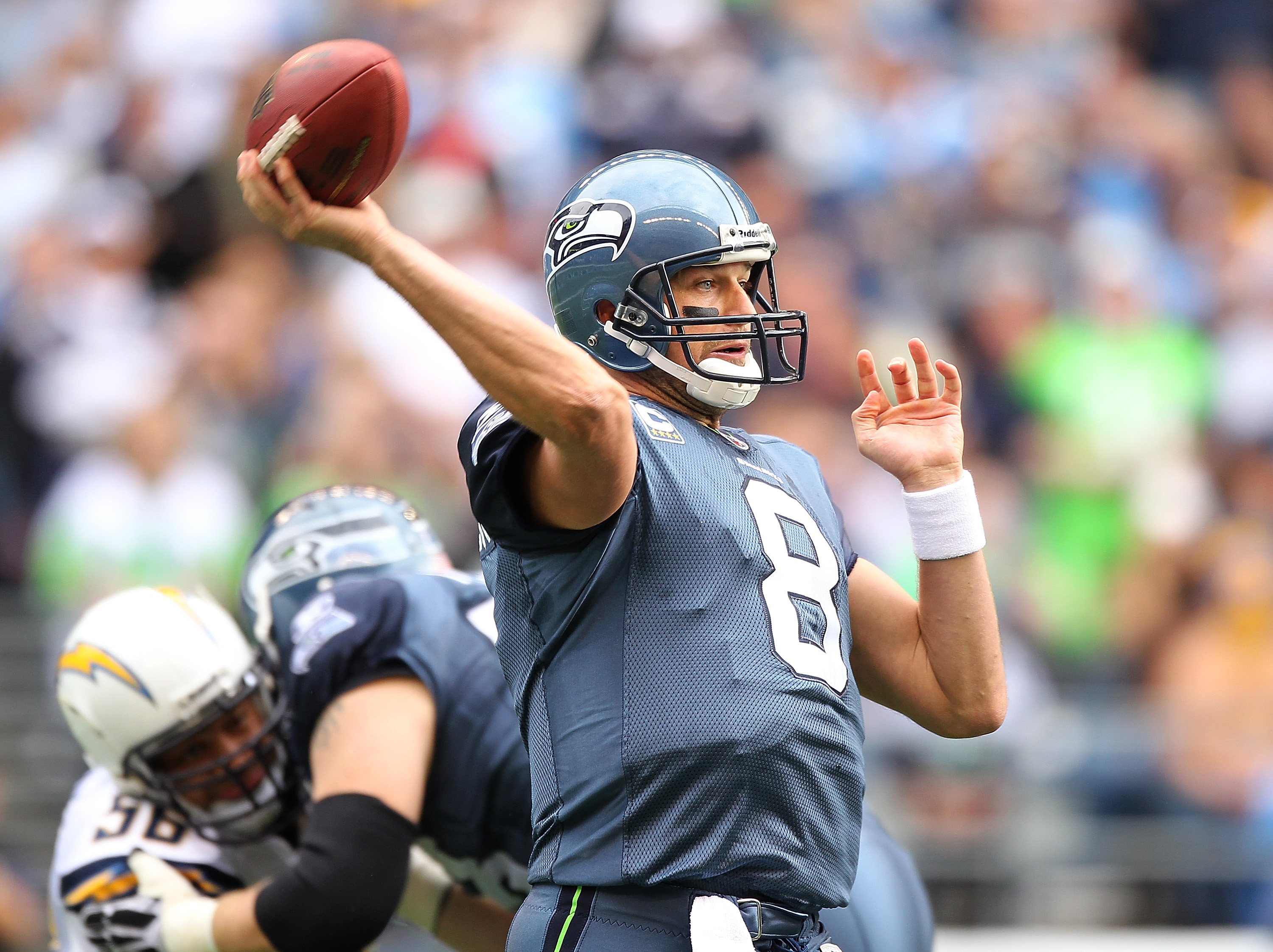 SEATTLE - SEPTEMBER 26:  Quarterback Matt Hasselbeck #8 of the Seattle Seahawks passes against the San Diego Chargers at Qwest Field on September 26, 2010 in Seattle, Washington. The Seahawks defeated the Chargers 27-20. (Photo by Otto Greule Jr/Getty Ima