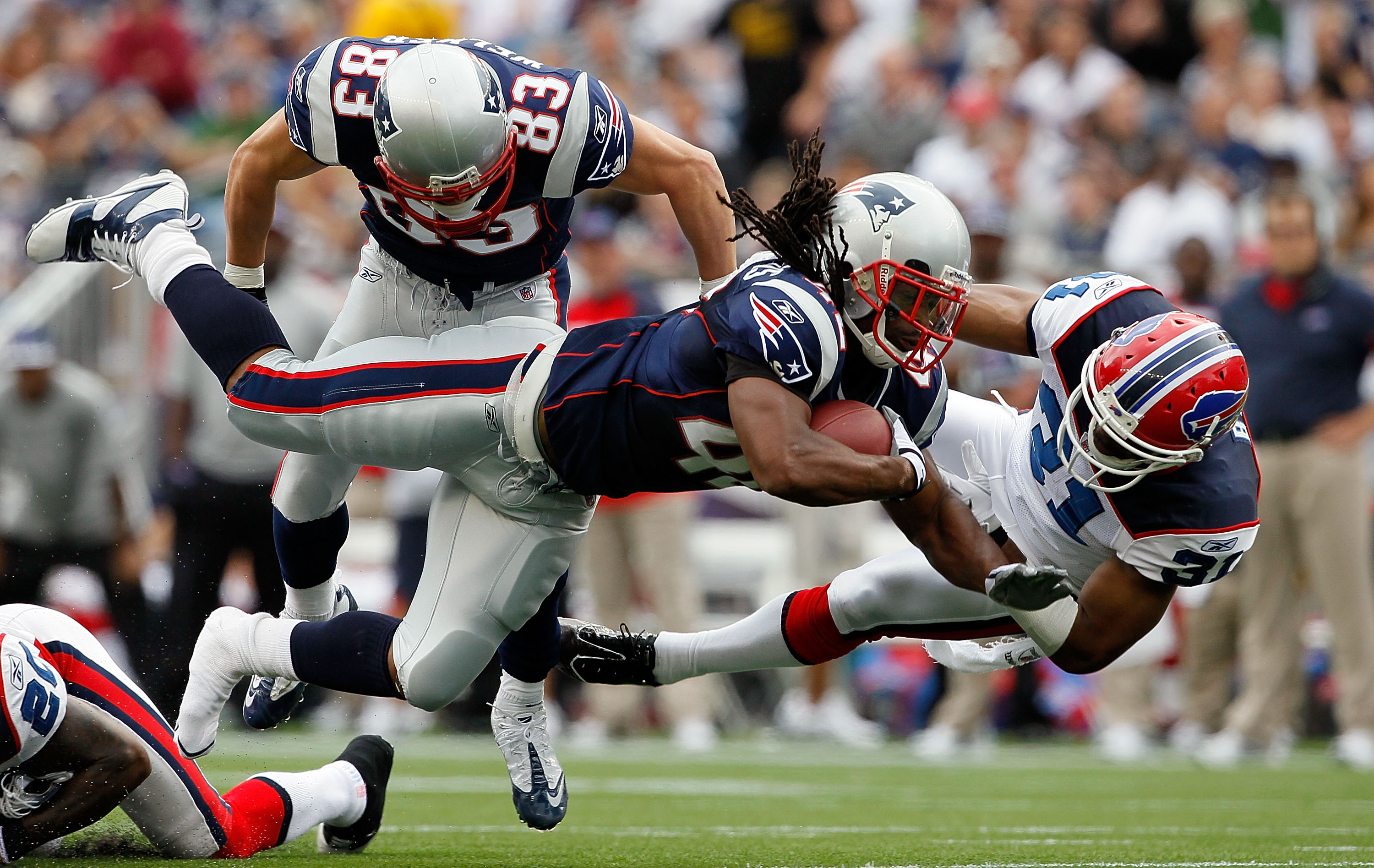 FOXBORO, MA - SEPTEMBER 26:  BenJarvus Green-Ellis #42 of the New England Patriots gains yardage against the defense of Jairus Byrd #31 of the Buffalo Bills at Gillette Stadium on September 26, 2010 in Foxboro, Massachusetts. (Photo by Jim Rogash/Getty Im