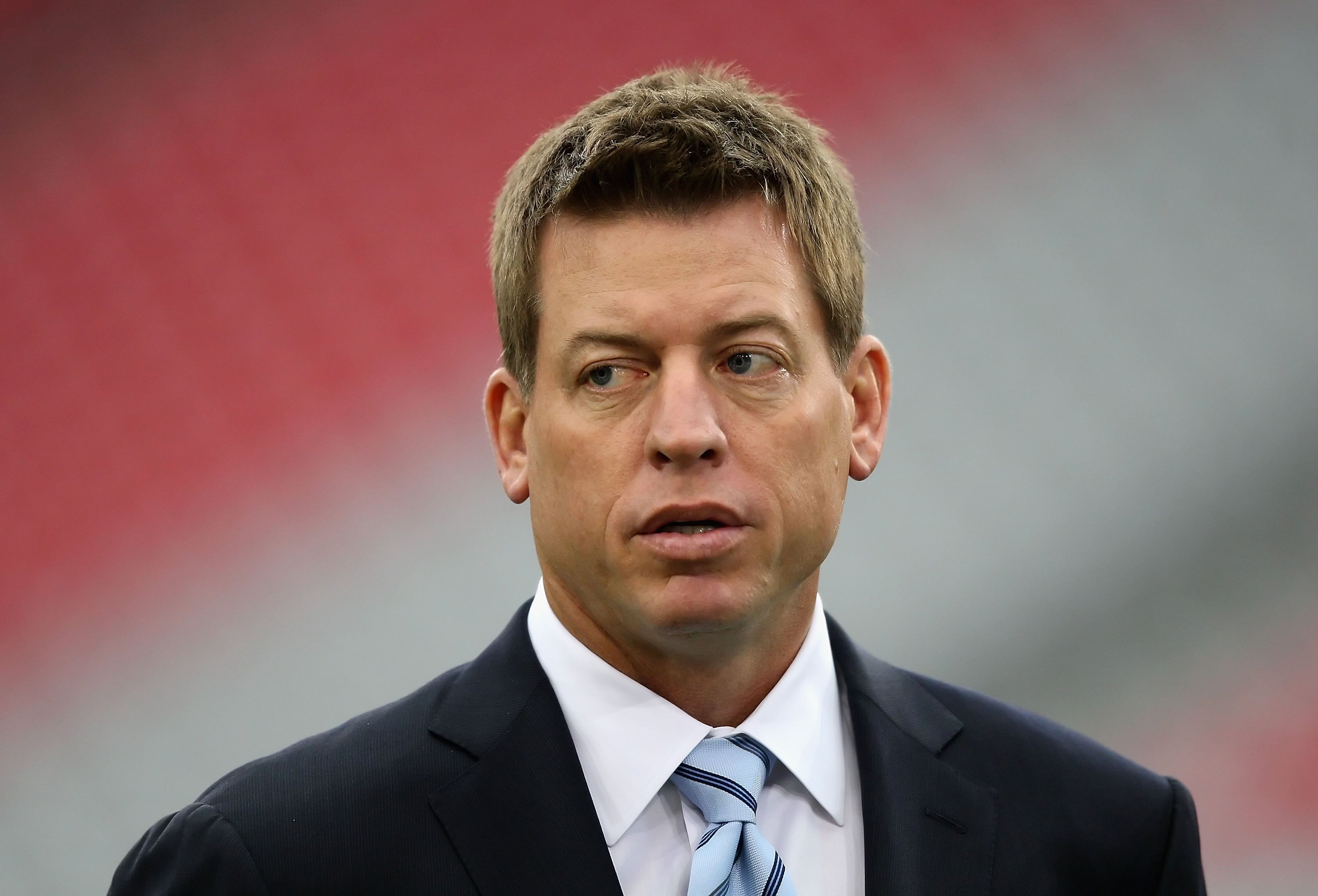 GLENDALE, AZ - JANUARY 10:  Troy Aikman attends the 2010 NFC wild-card playoff game between the Green Bay Packers the Arizona Cardinals at the Universtity of Phoenix Stadium on January 10, 2010 in Glendale, Arizona.  The Cardinals defeated the Packers  51