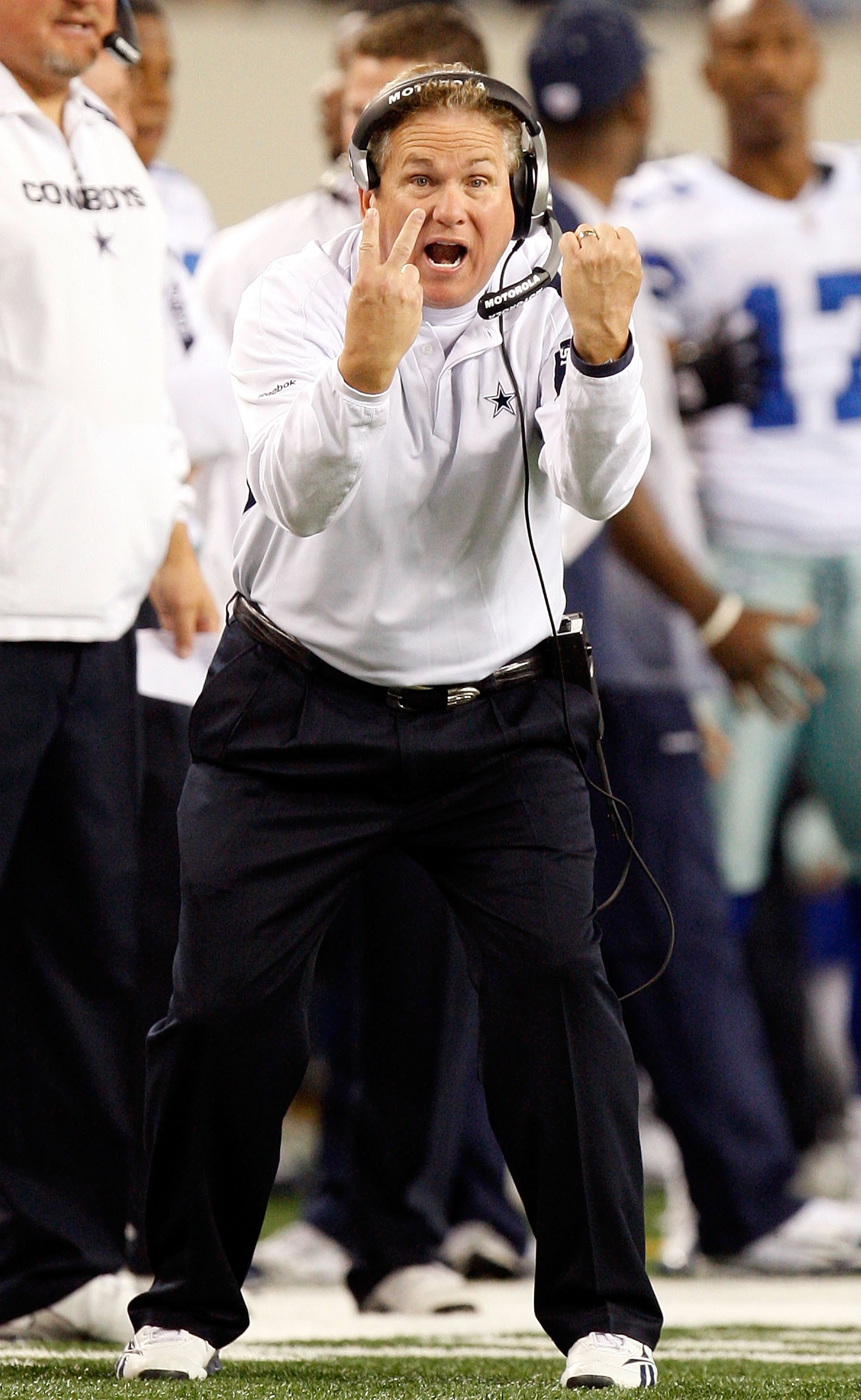 ARLINGTON, TX - JANUARY 9:  Assistant coach Dave Campo during the 2010 NFC wild-card playoff game at Cowboys Stadium on January 9, 2010 in Arlington, Texas. (Photo by Ronald Martinez/Getty Images)