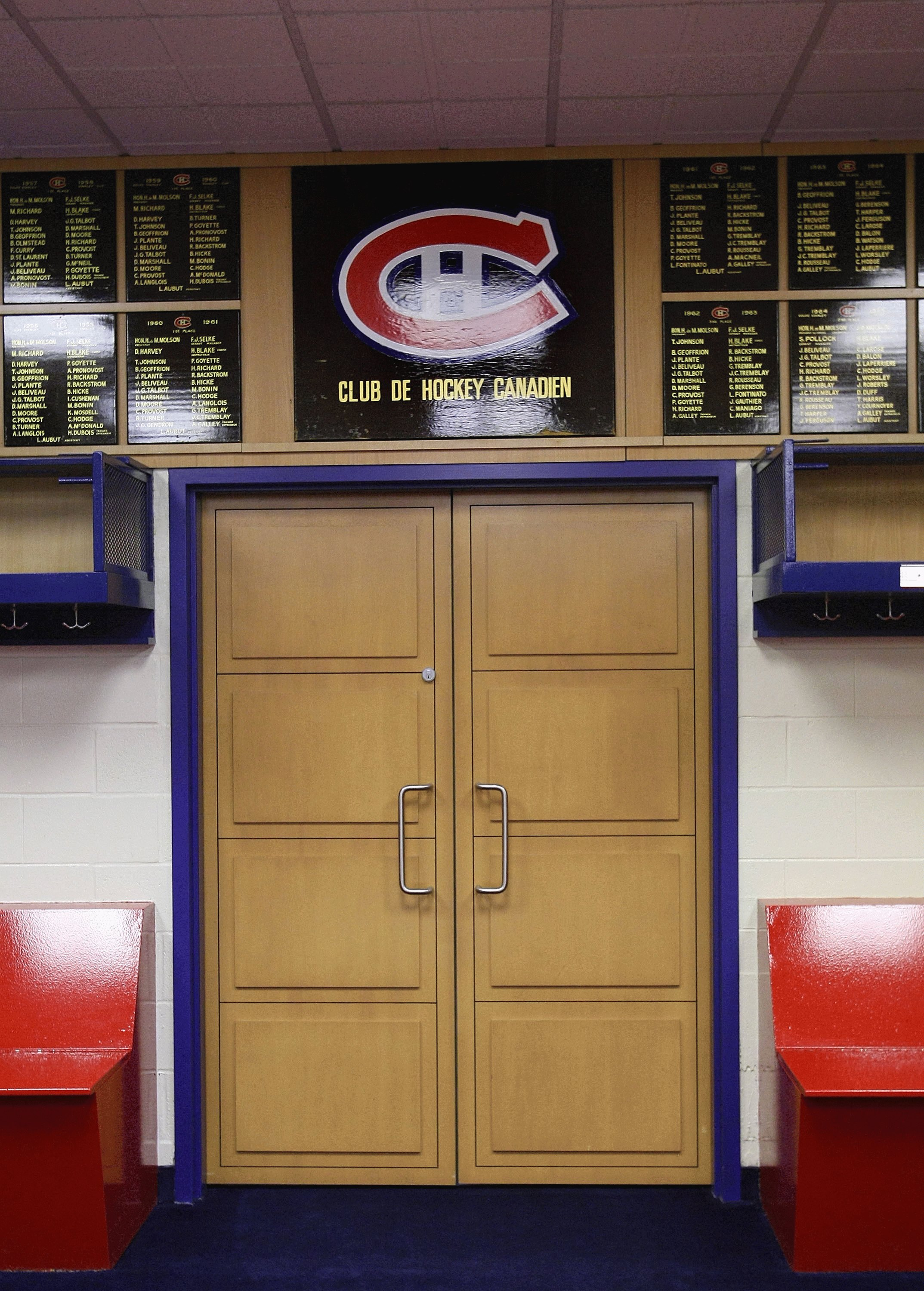 MONTREAL - JANUARY 25:  The entrance to the Montreal Canadiens locker room photographed during the 2009 NHL All-Star game at the Bell Centre on January 25, 2009 in Montreal, Canada. (Photo by Bruce Bennett/Getty Images)